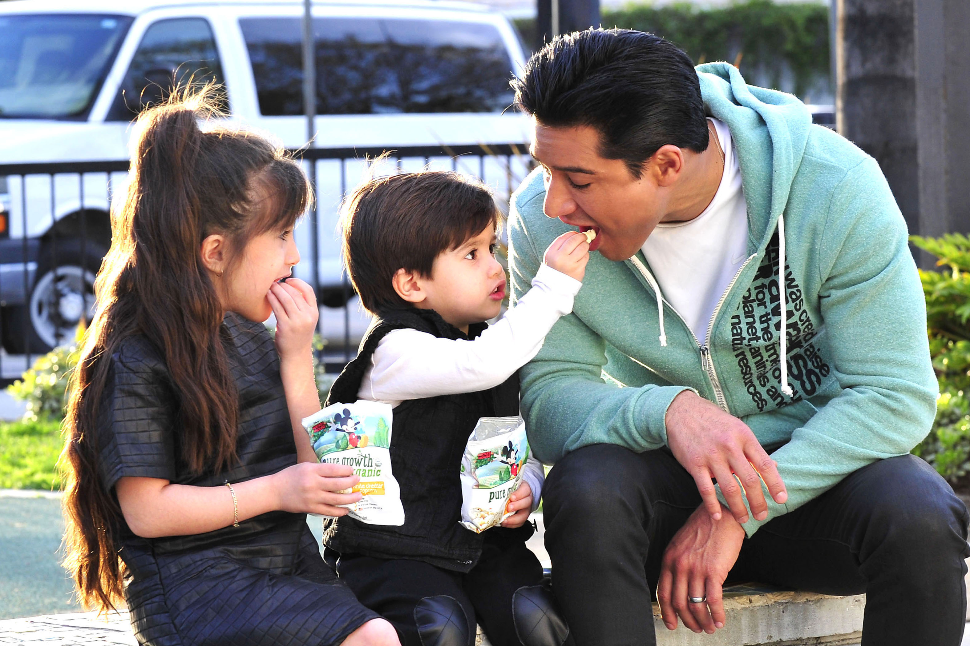 Mario Lopez Has Fun While Taking A Popcorn Break With His Cute Kids On The Set Of Extra