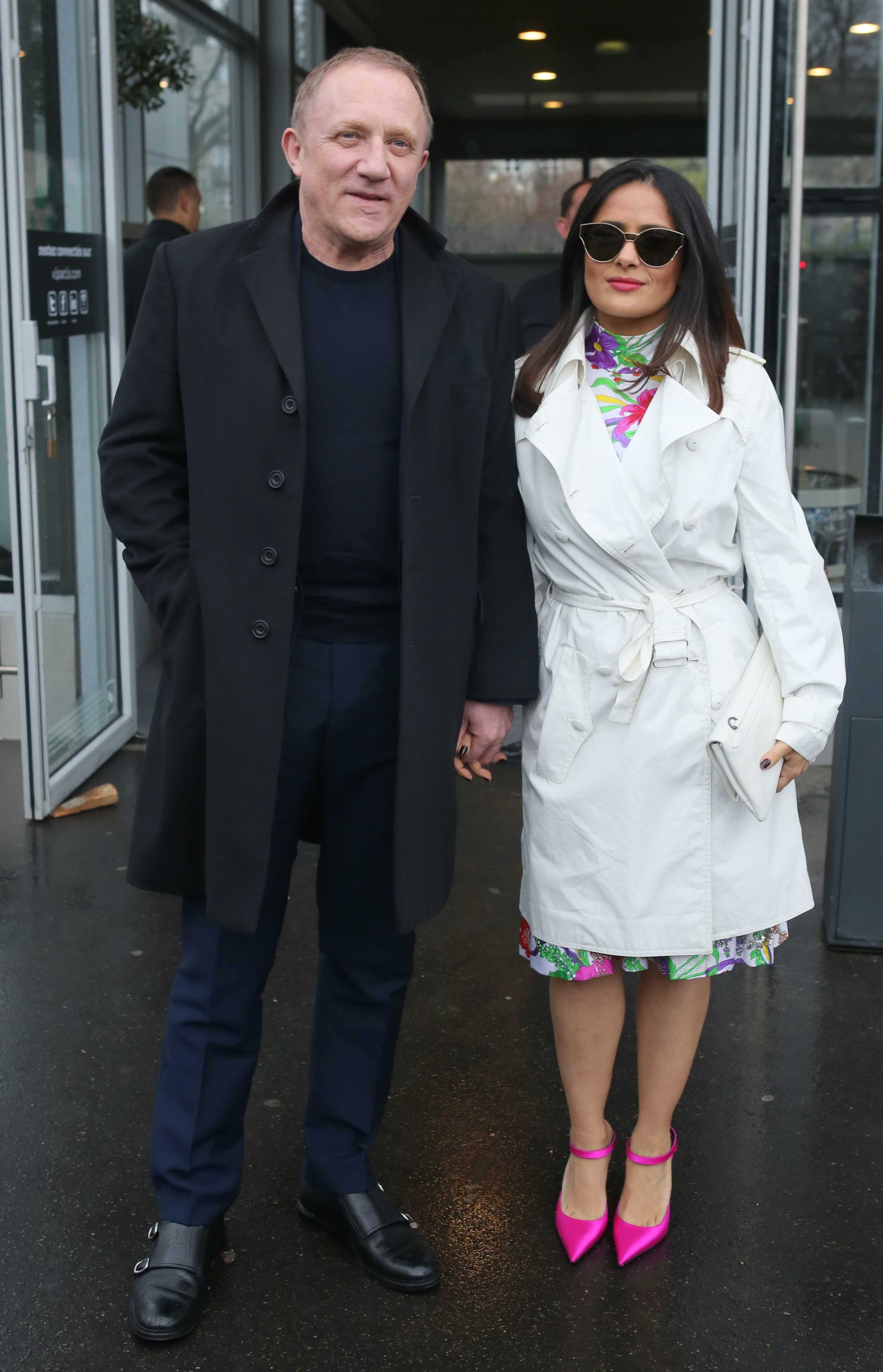 Salma Hayek Shows Off Her Legs As She Arrives At Balenciaga Show With François-Henri Pinault