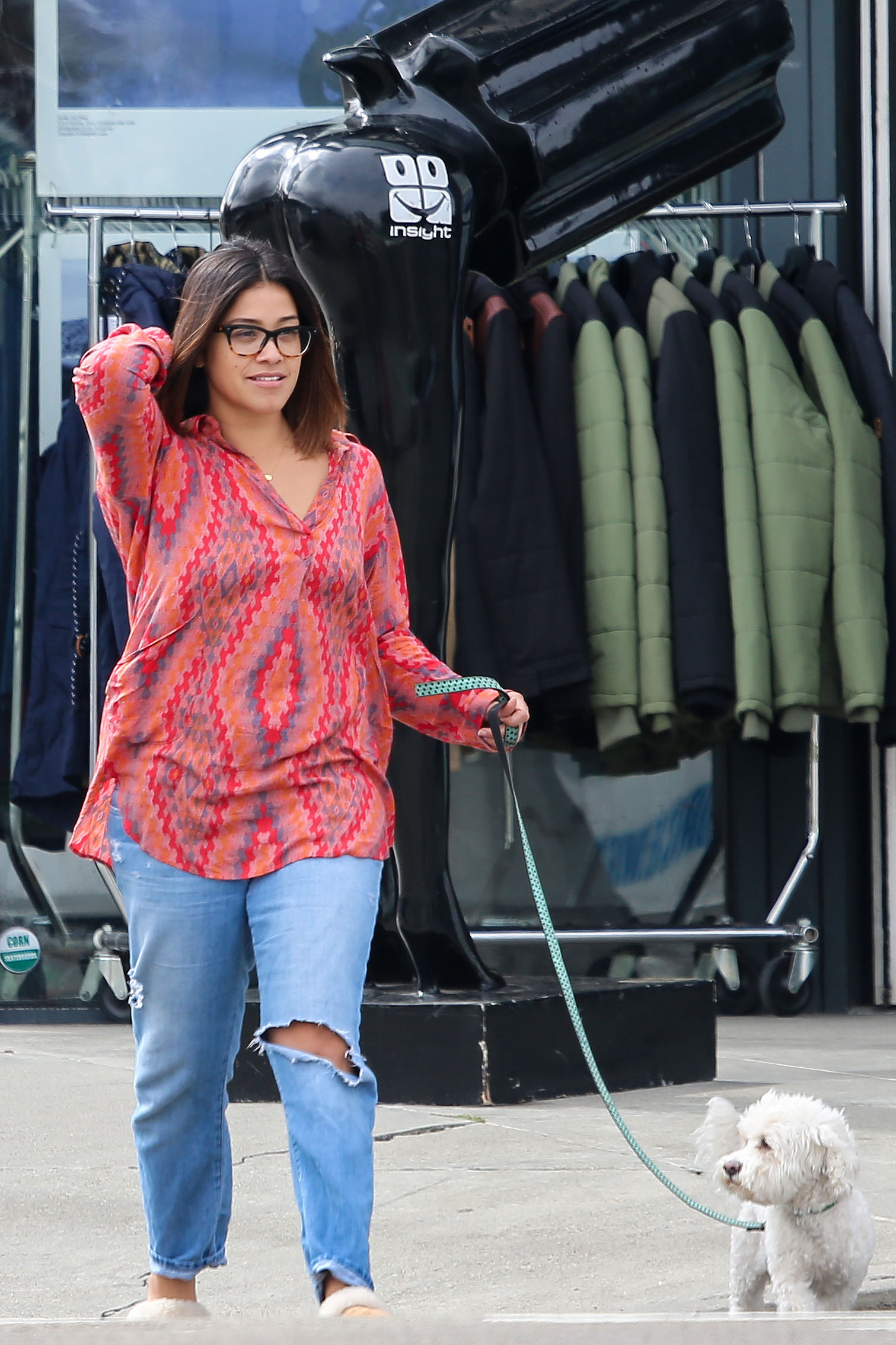 EXCLUSIVE Comfy Gina Rodriguez Skips Makeup As She Stops By The ATM With Her Dog And Pal
