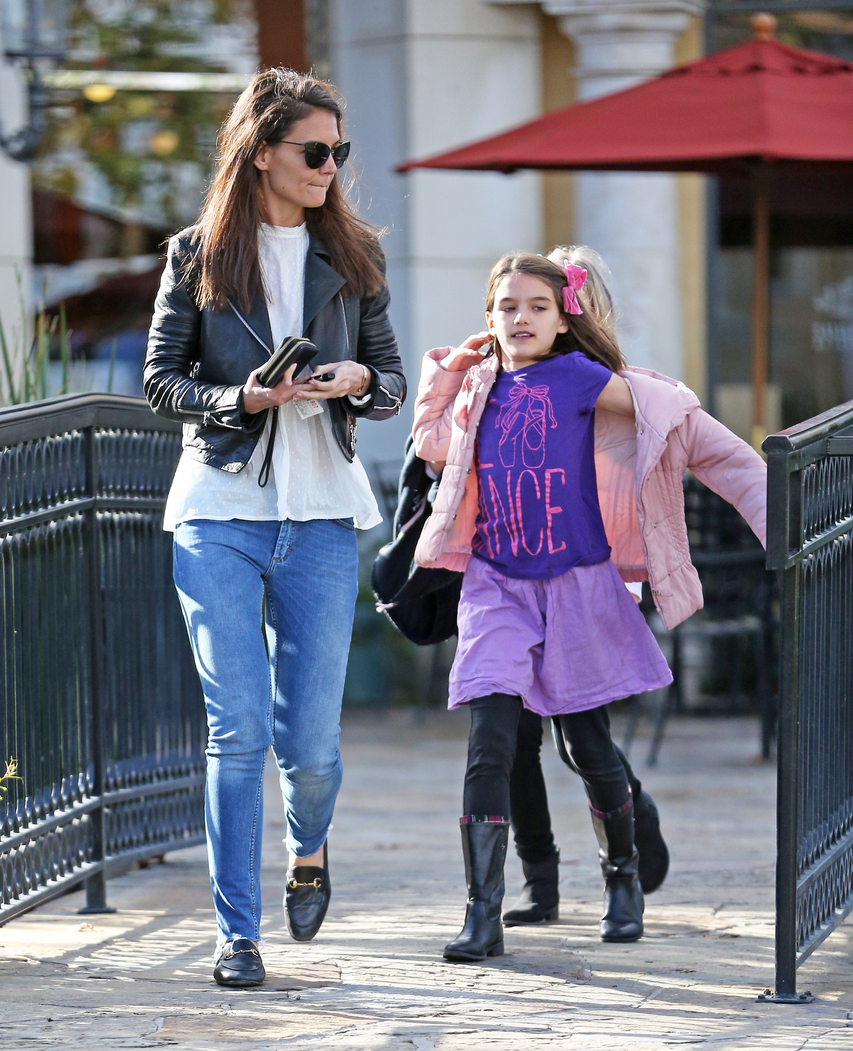 EXCLUSIVE Cool Mom Katie Holmes Rocks Biker Jacket While Out For Smoothies With Suri