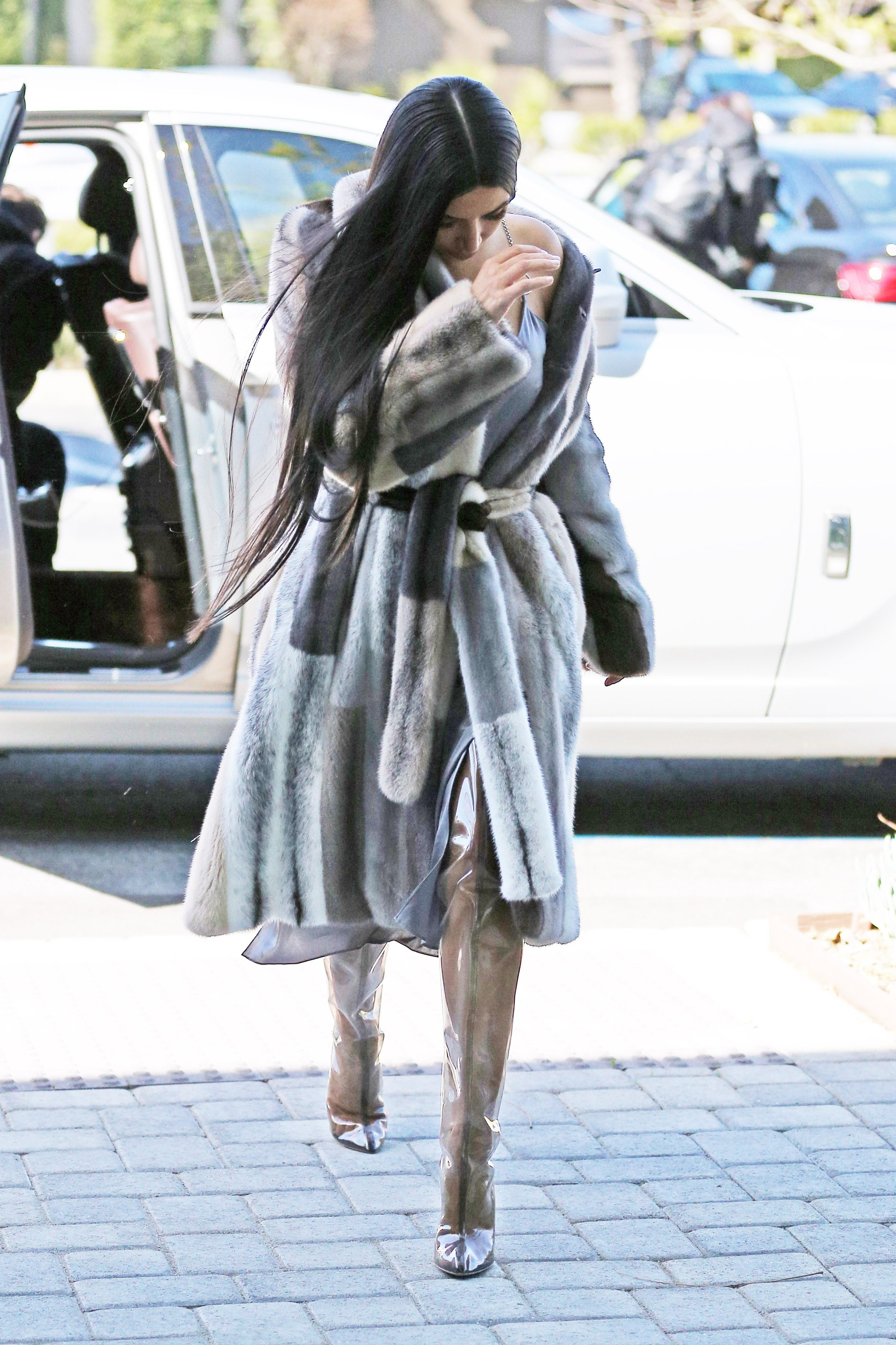 Kim Kardashian Wears Fur In 80 Degree Weather