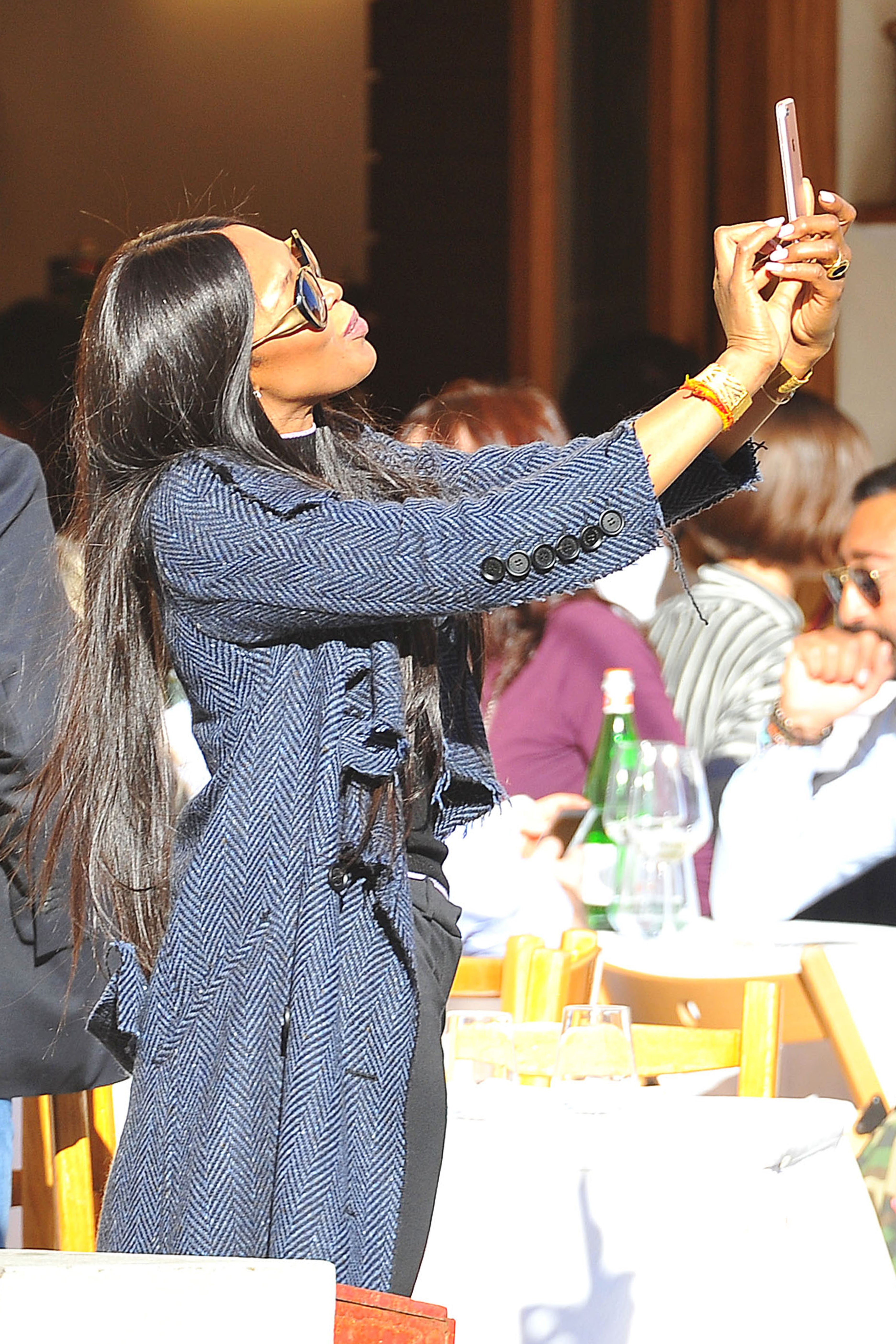 EXCLUSIVE Naomi Campbell Eats Pasta and Takes Selfies in Italy with Diego Della Valle