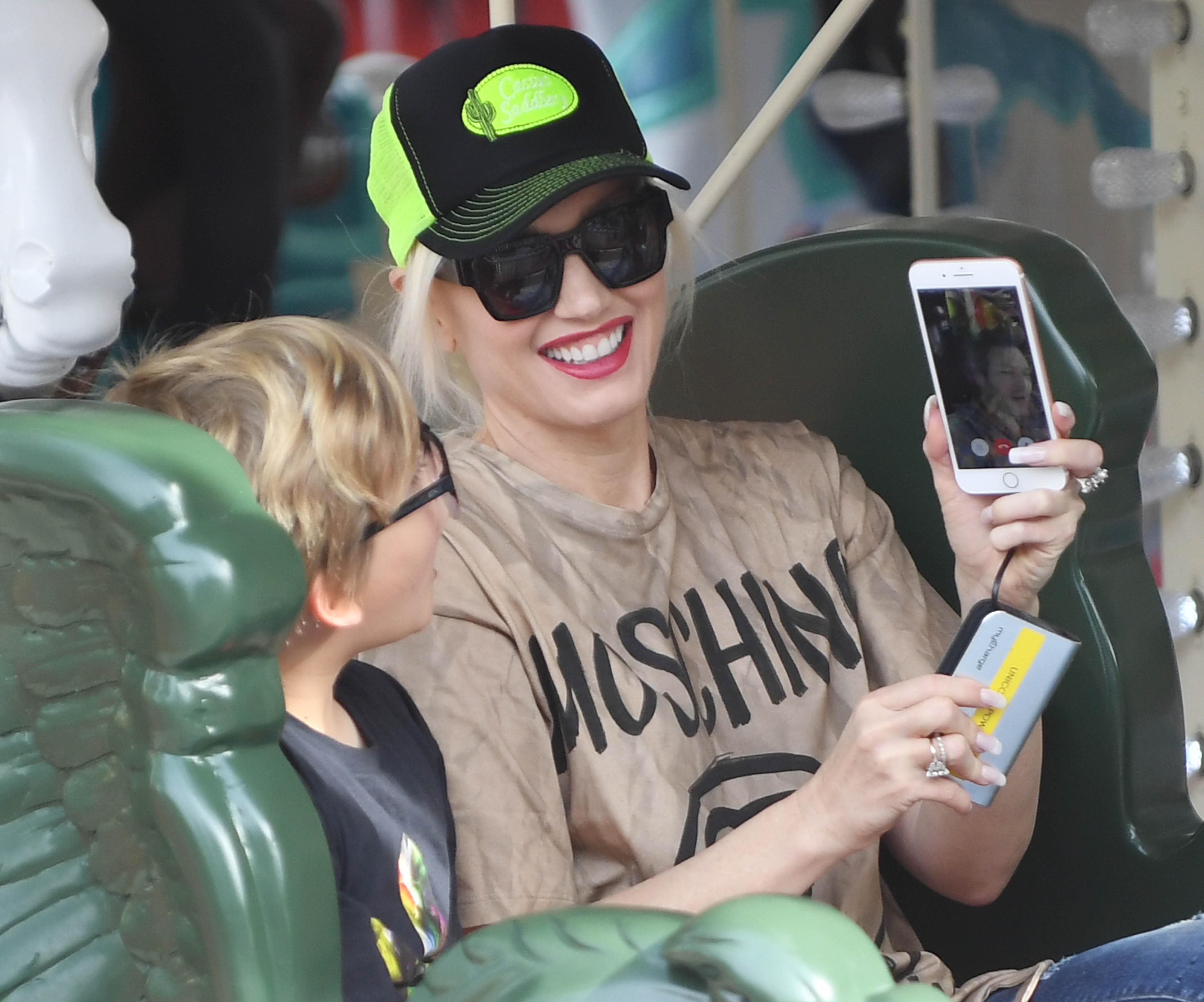 Gwen Stefani Has A Blast With Her Boys At Six Flags Magic Mountain Amusement Park