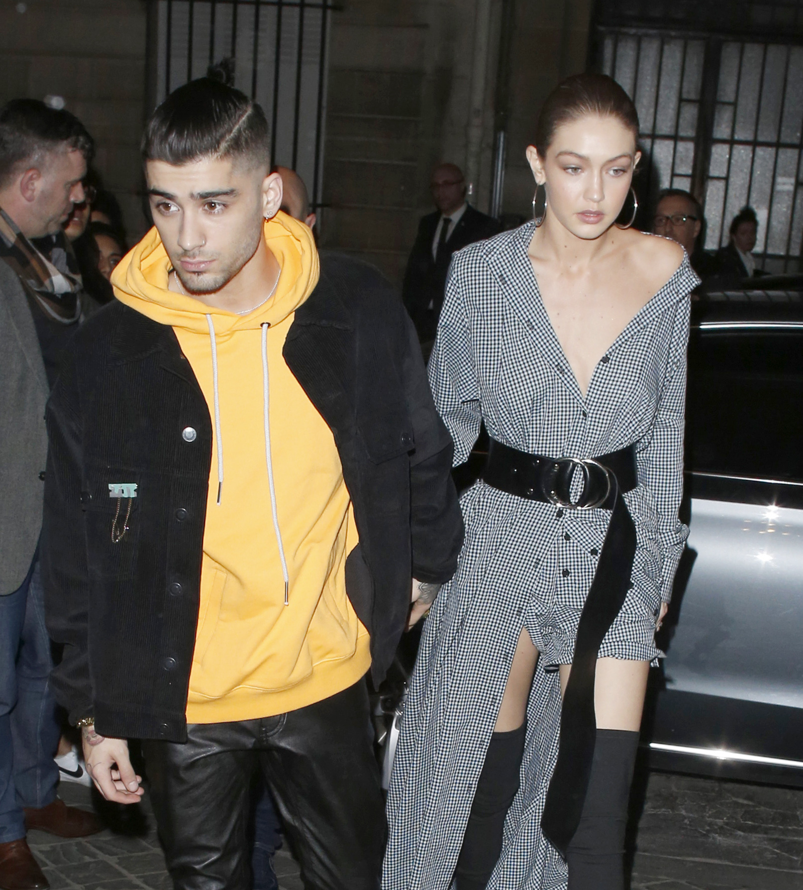 Gigi Hadid Wows In Gingham Dress And Thigh-High Boots With Zayn Malik For Vogue Cocktail Party