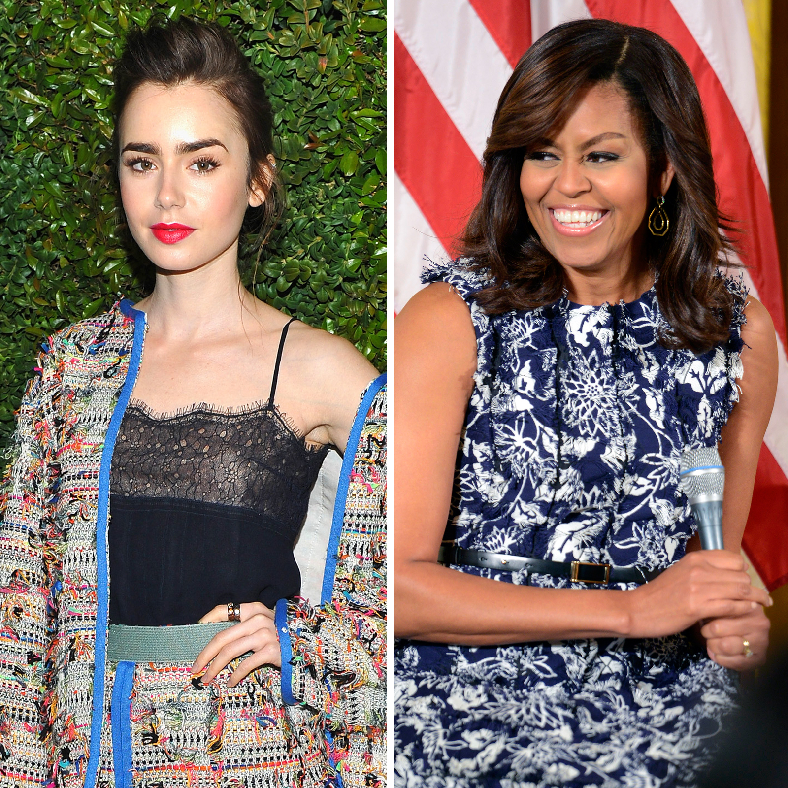Lily Collins y Michelle Obama