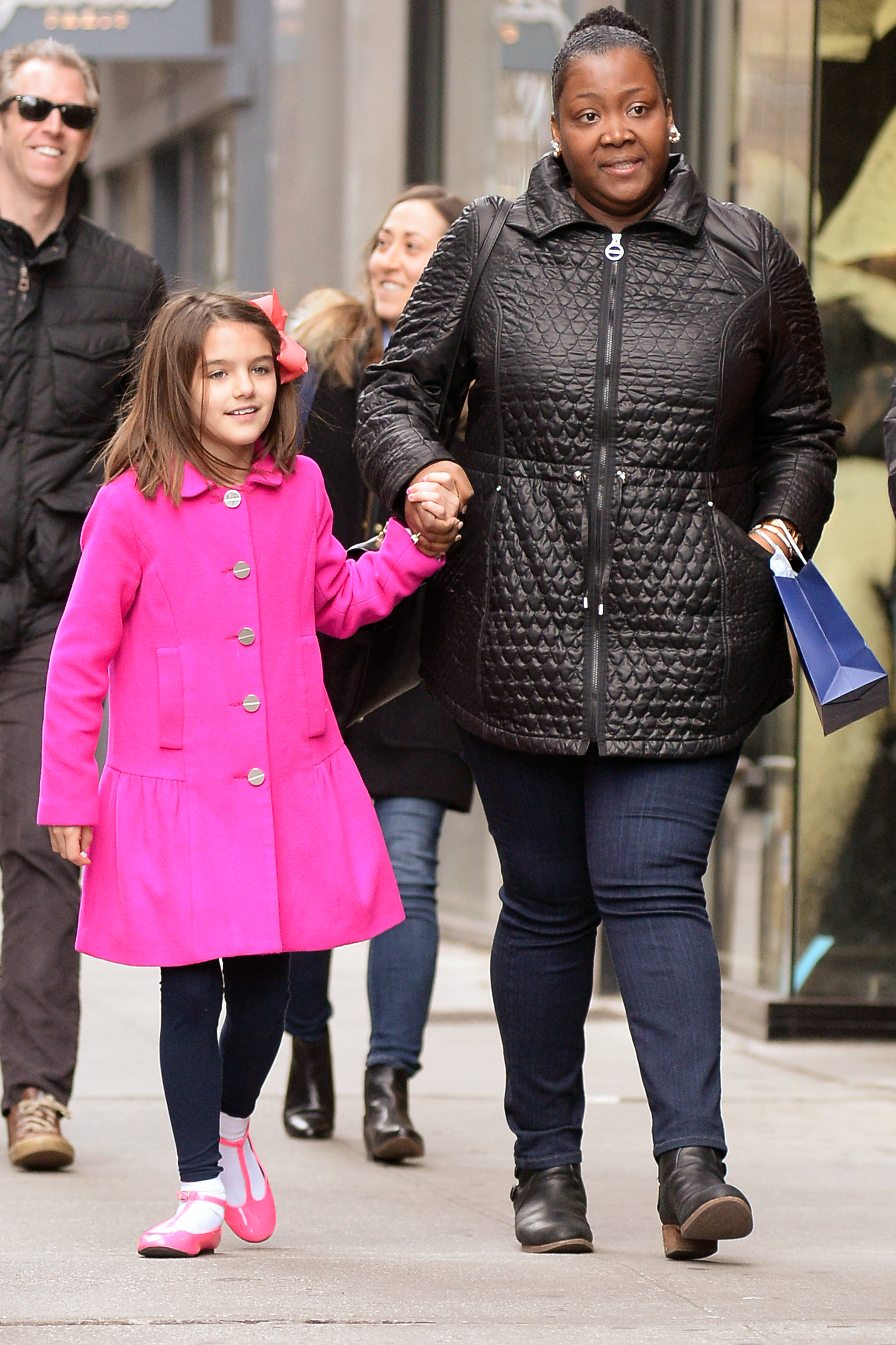 EXCLUSIVE Suri Cruise Looks Pretty in A Pink Coat While Shopping