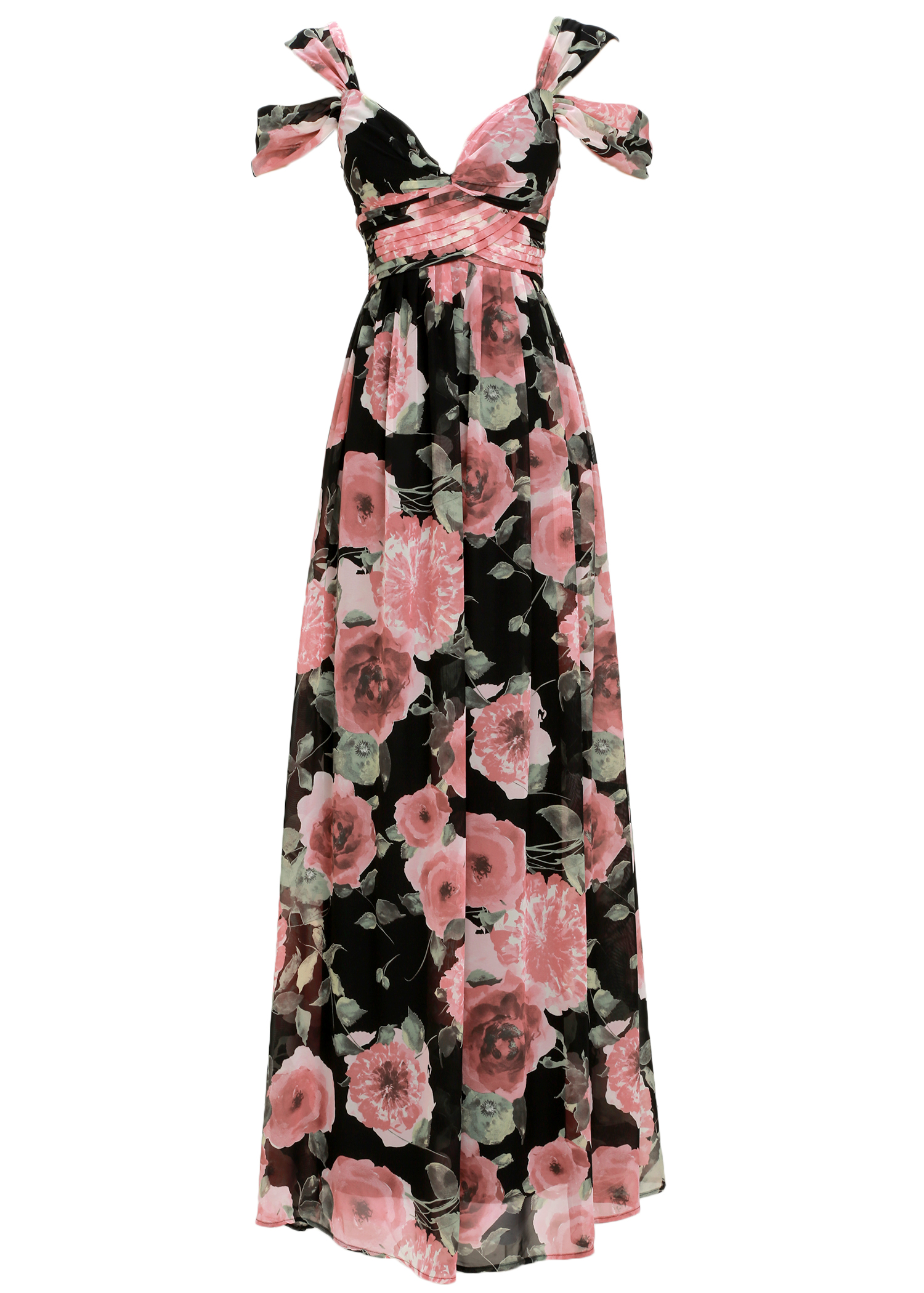 lulus - GIVE ME AMORE BLACK AND PINK FLORAL PRINT MAXI DRESS