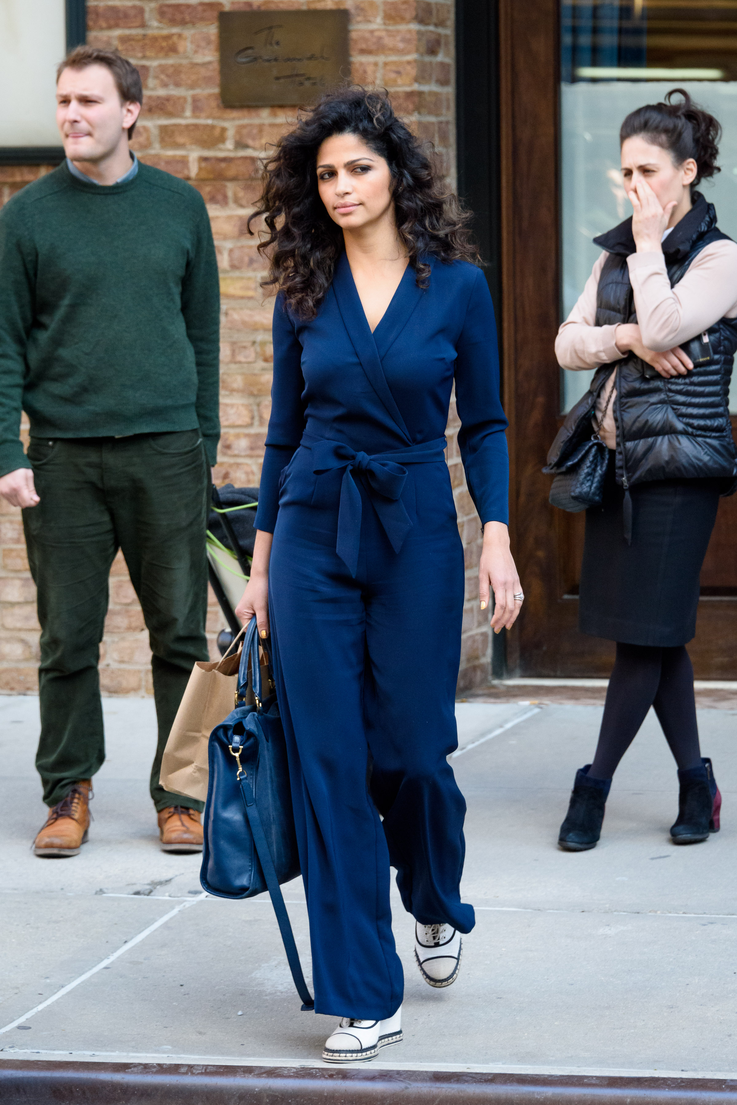 EXCLUSIVE Camila Alves Looks Relaxed in Blue Pant Suit
