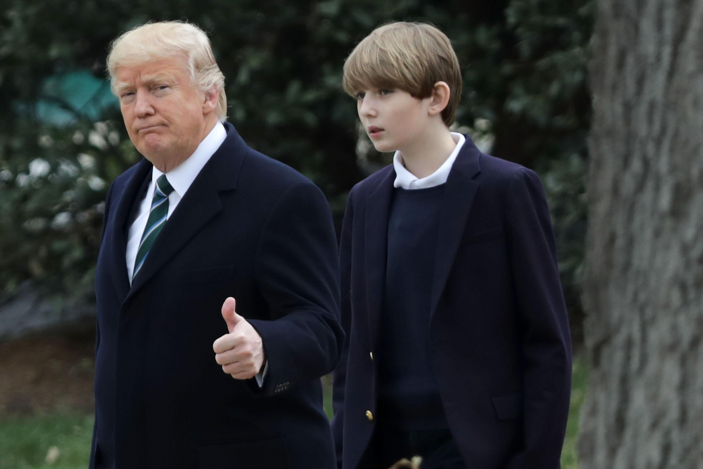 Donald Trump y su hijo Barron Trump