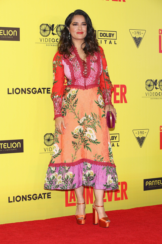 Salma Hayek, floral dress, mexico
