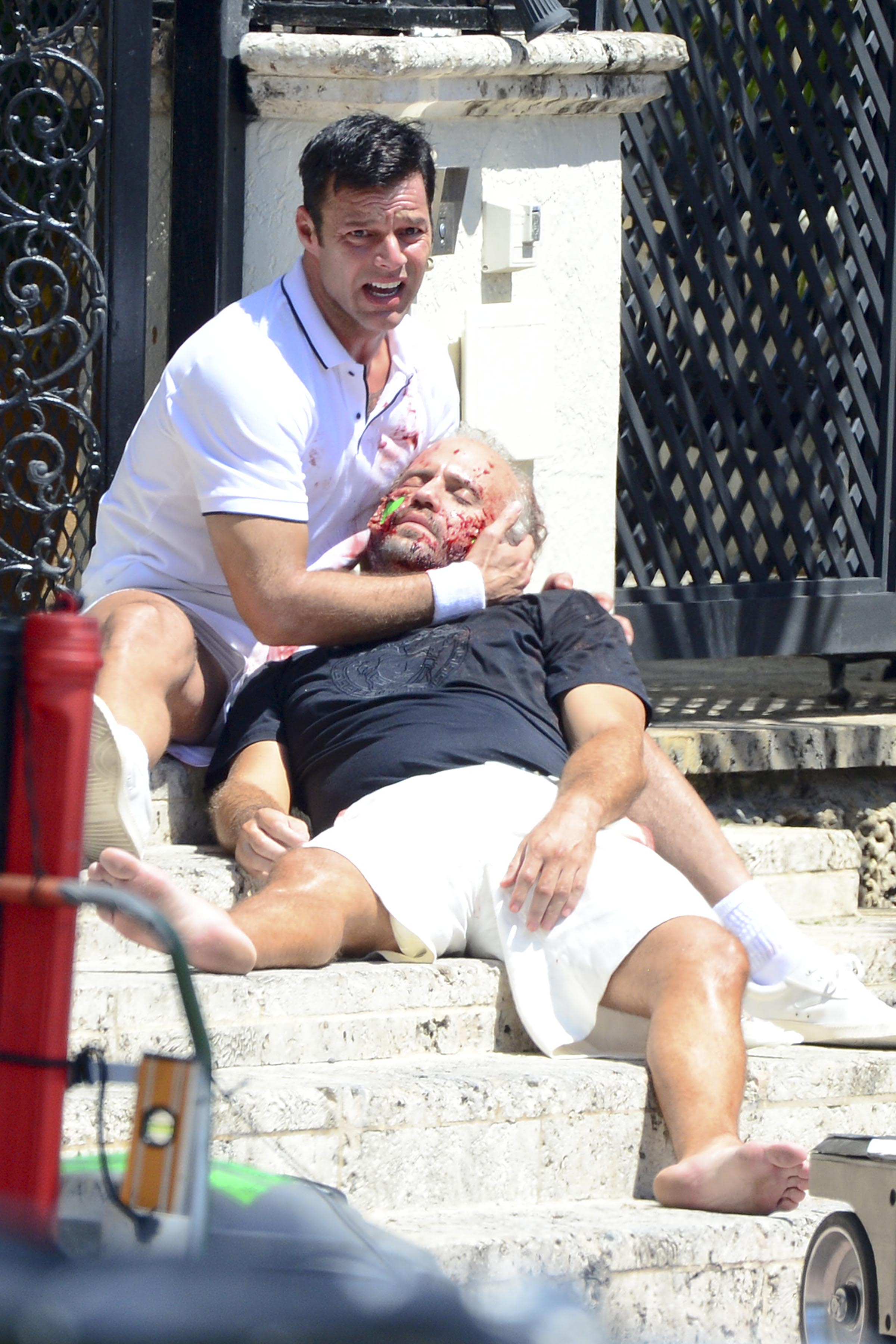 Ricky Martin Filming a Scene Holding a Fully Blooded Edgar Ramirez for American Crime Story