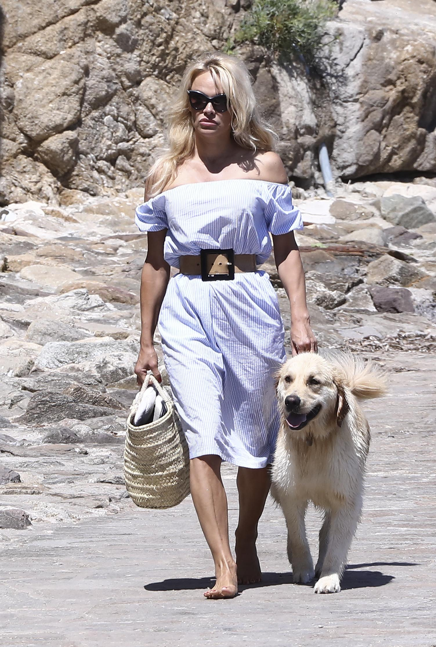 Pamela Anderson Shows Off her Curves in Chic Dress as she Enjoys a Day in Saint Tropez with Son