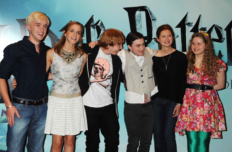 Tom Felton, Emma Watson, Rupert Grint, Daniel Radcliffe, Bonnie Wright, Jessie Cave