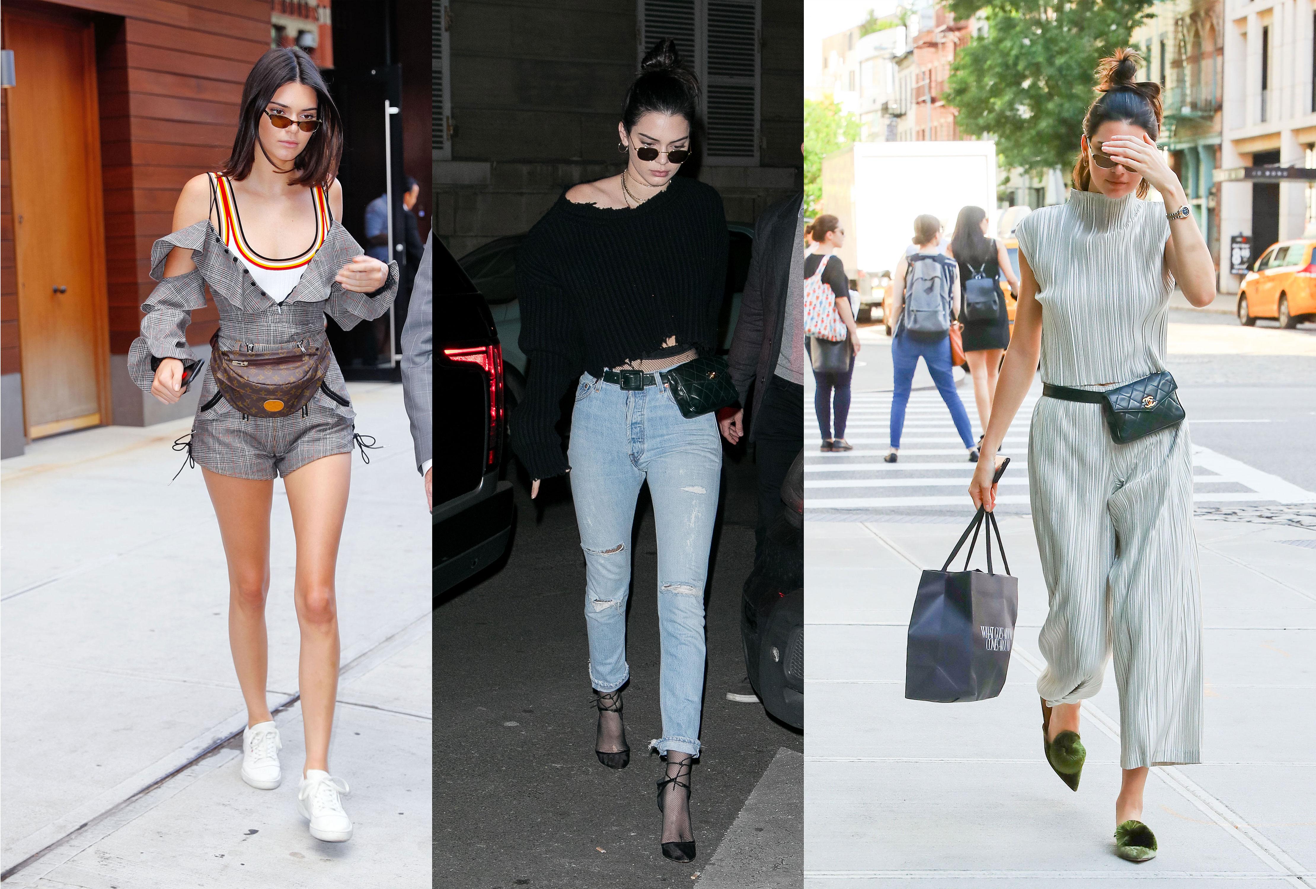 Kendall Jenner, bandolera, fanny pack, bolsa, moda, tendencia