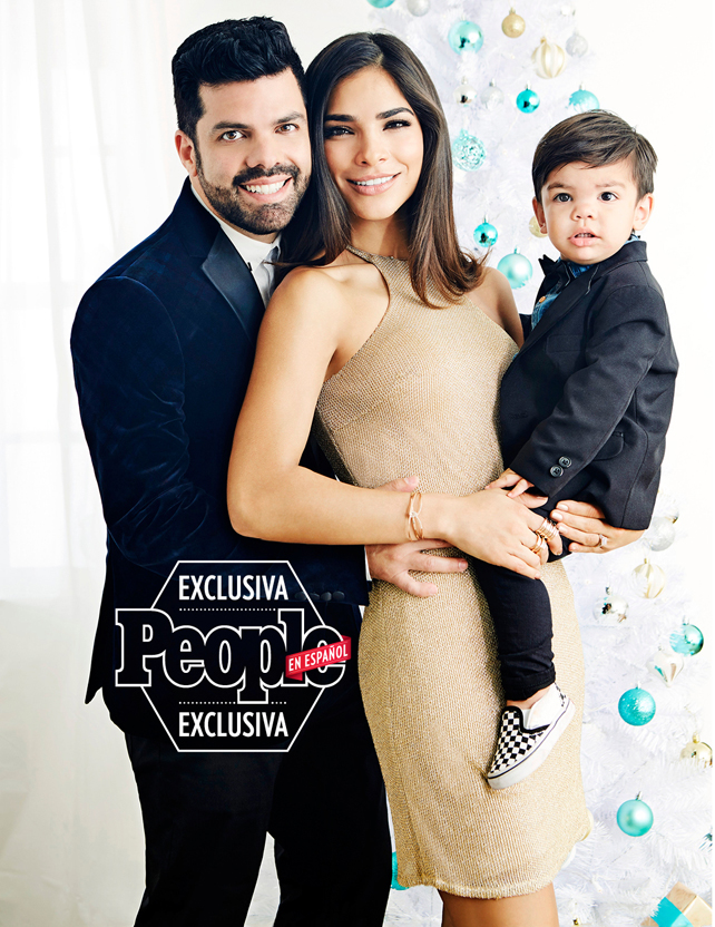 Alejandra Espinoza con su esposo Aníbal y su hijo Matteo