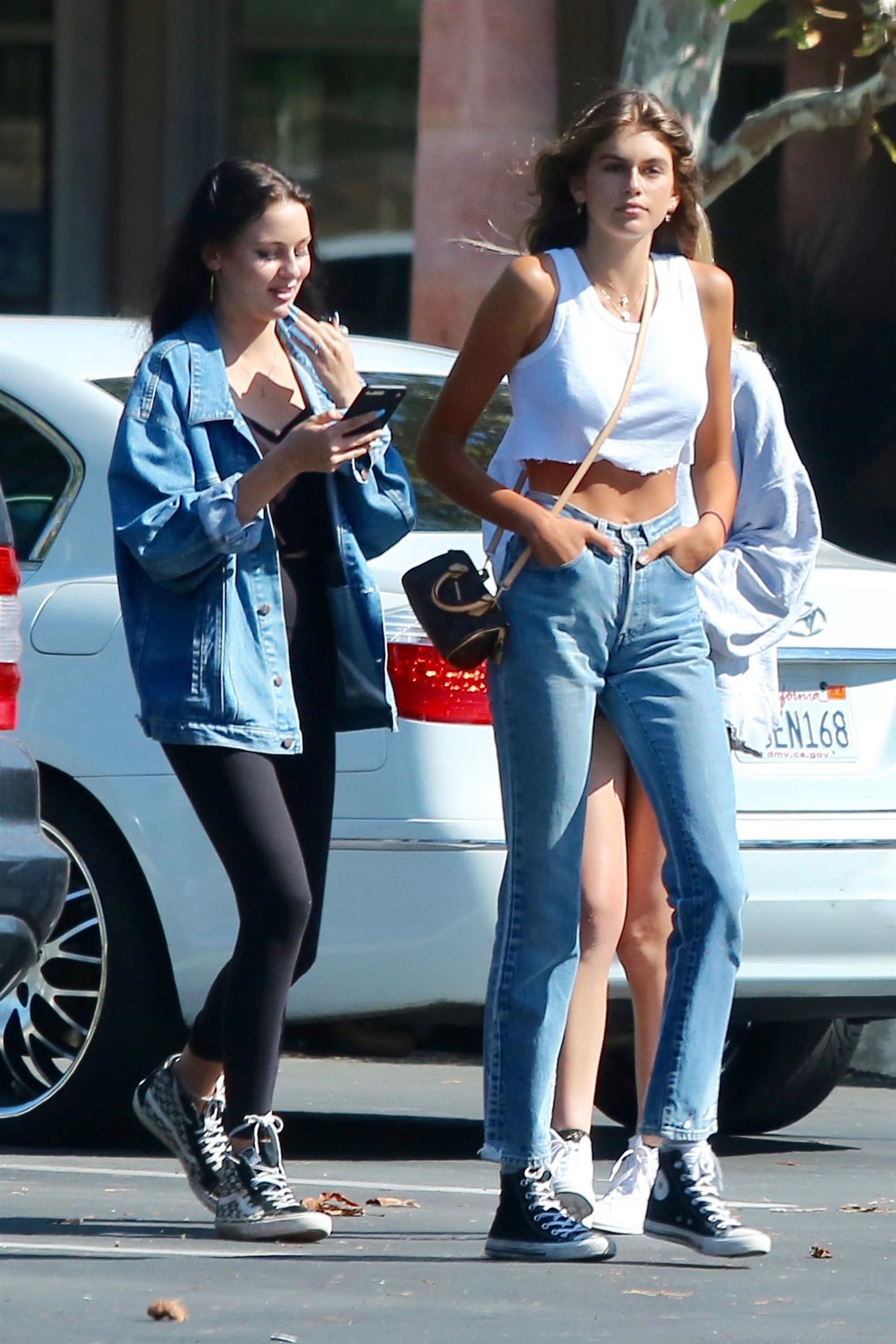 EXCLUSIVE Kaia Gerber Keeps It Casual While Hanging Out With Friends