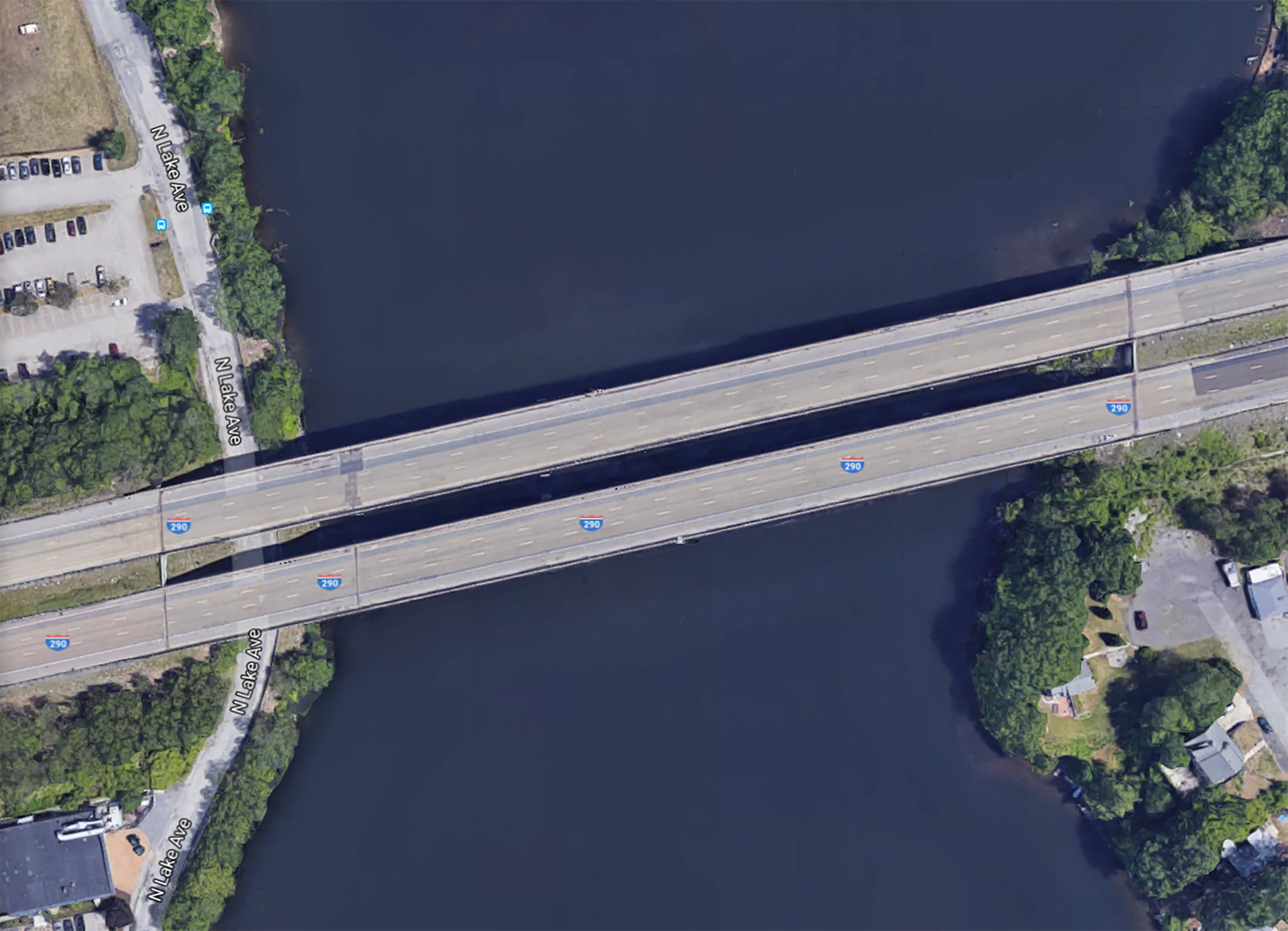 The I-290 bridge over Lake Quinsigamond