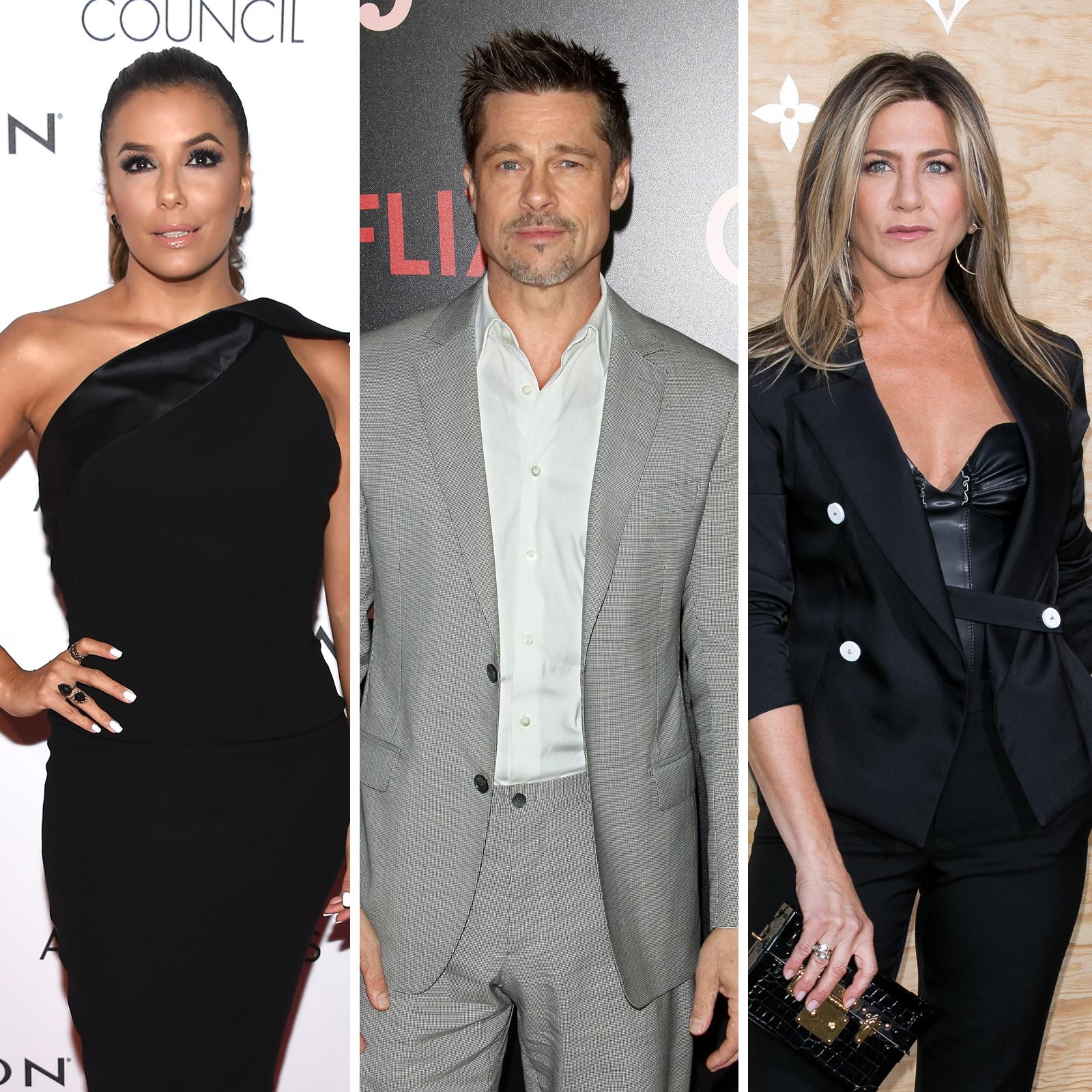 Eva Longoria, Brad Pitt y Jennifer Aniston