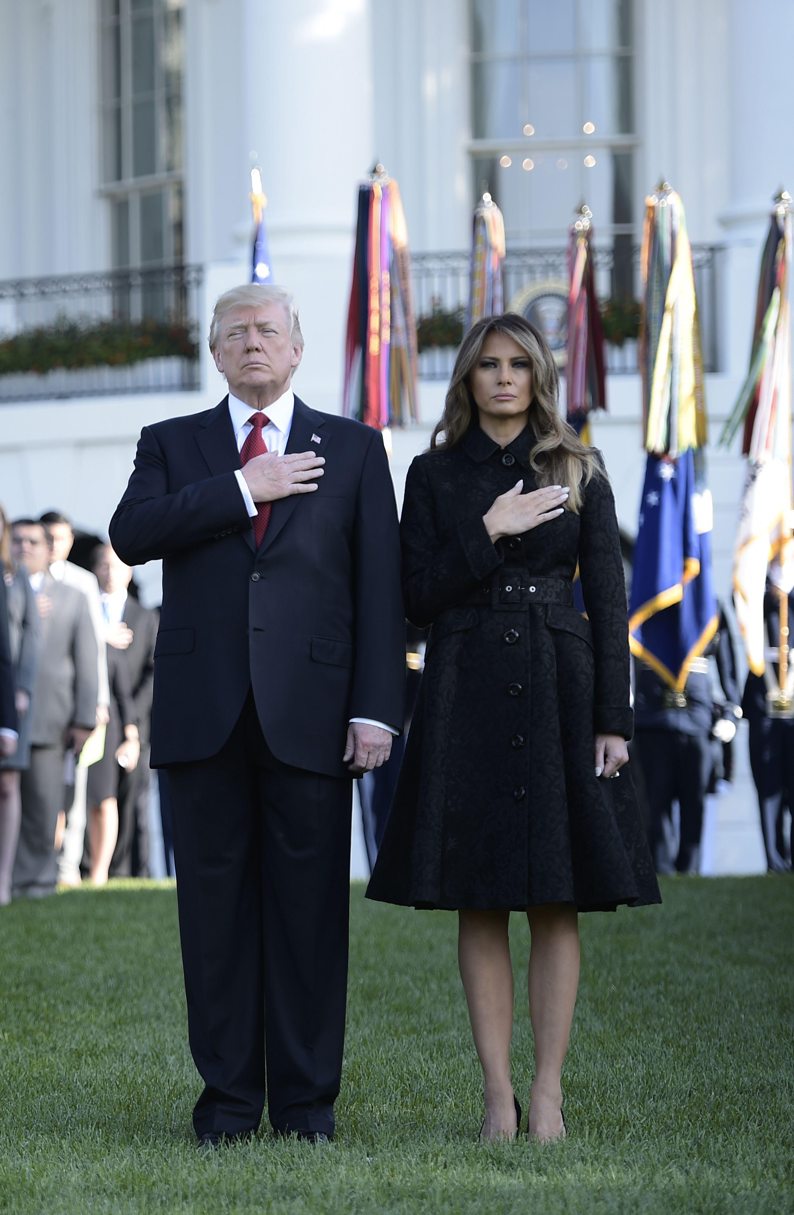 Melani trump, 911, memorial, ceremonia, vestido, look,