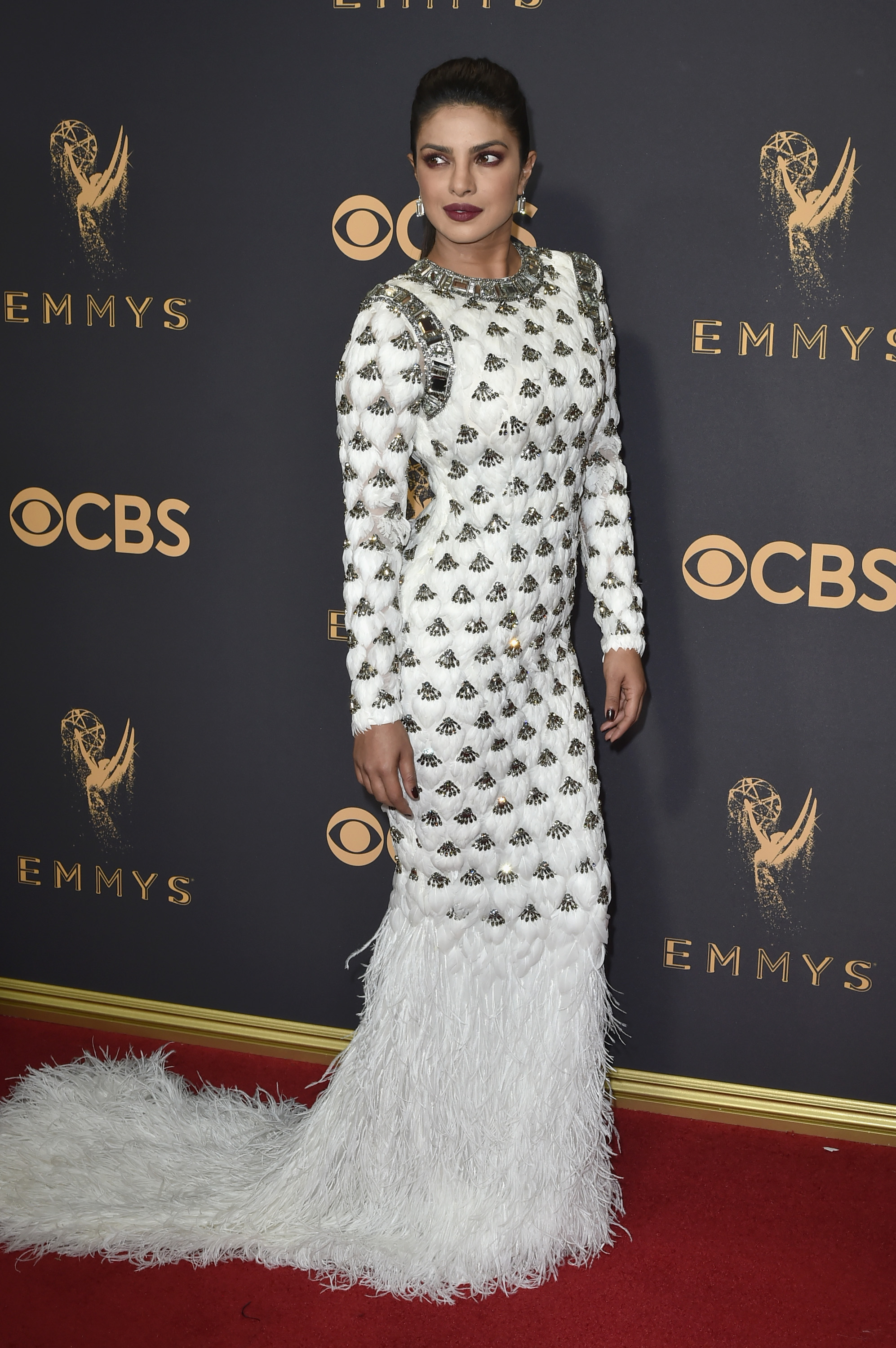 Priyanka Chopra, look, dress, Emmy awards, emmys, balmain