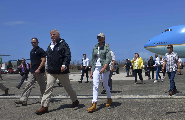 Melania Trump, look, Puerto Rico, botas, Timberland