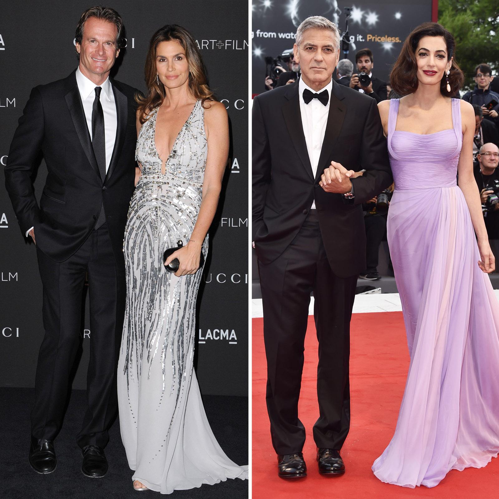 Cindy Crawford y Rande Gerber; George Clooney y Amal Clooney