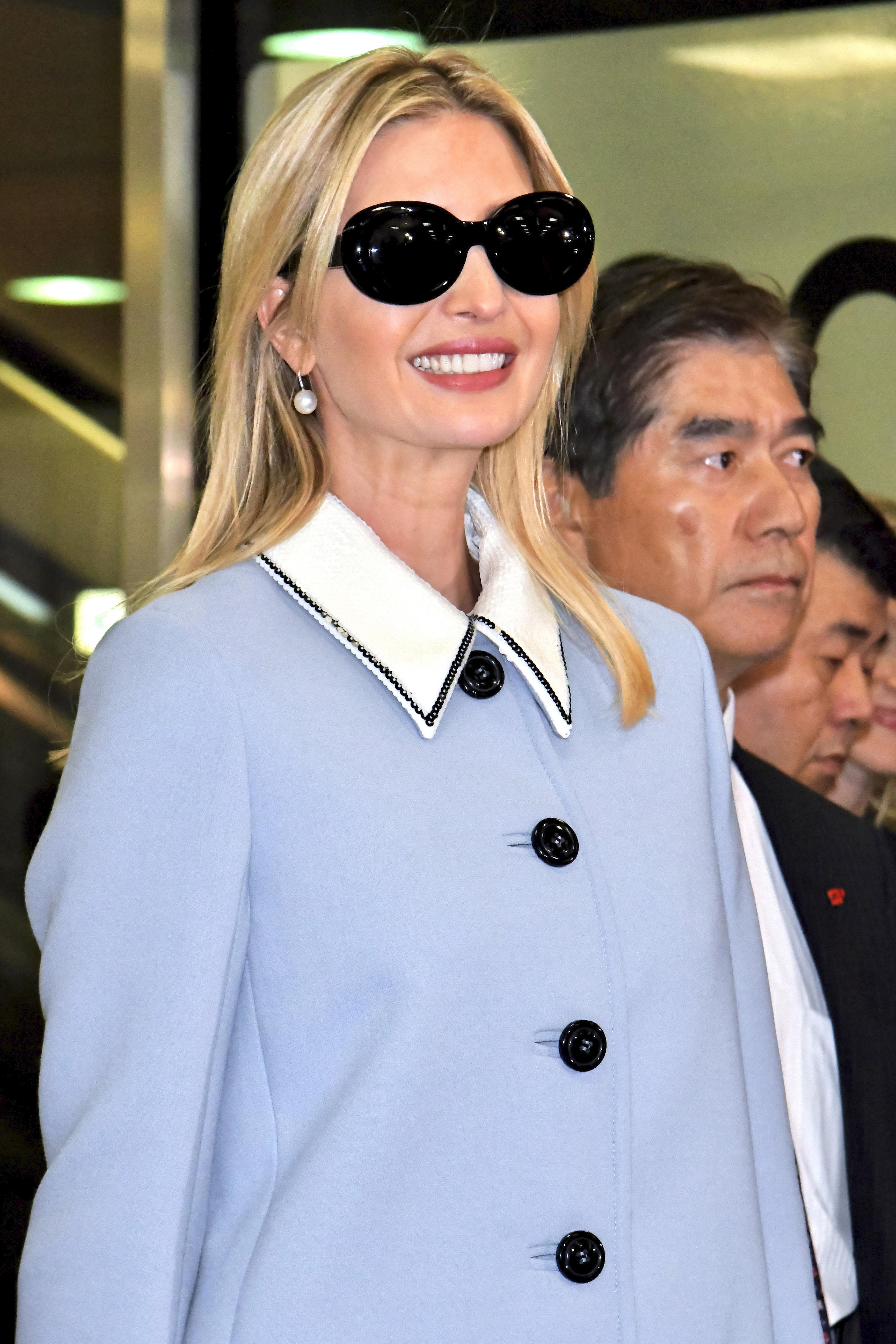 Ivanka Trump Very Stylish in a Blue Coat in Japan