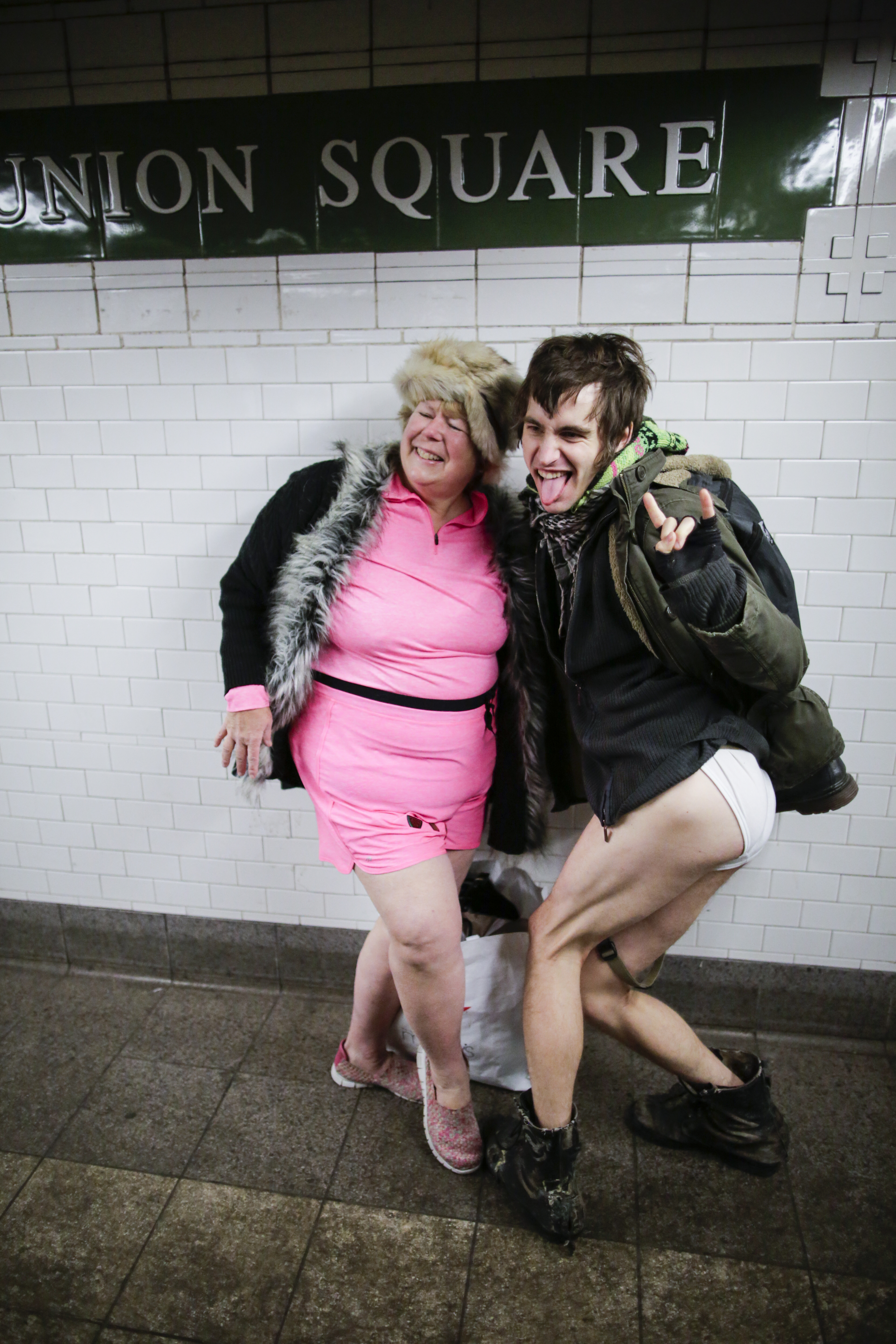 Participants Of Annual No Pants Subway Brave Freezing Temperatures In NYC To Ride Subway In Underwear