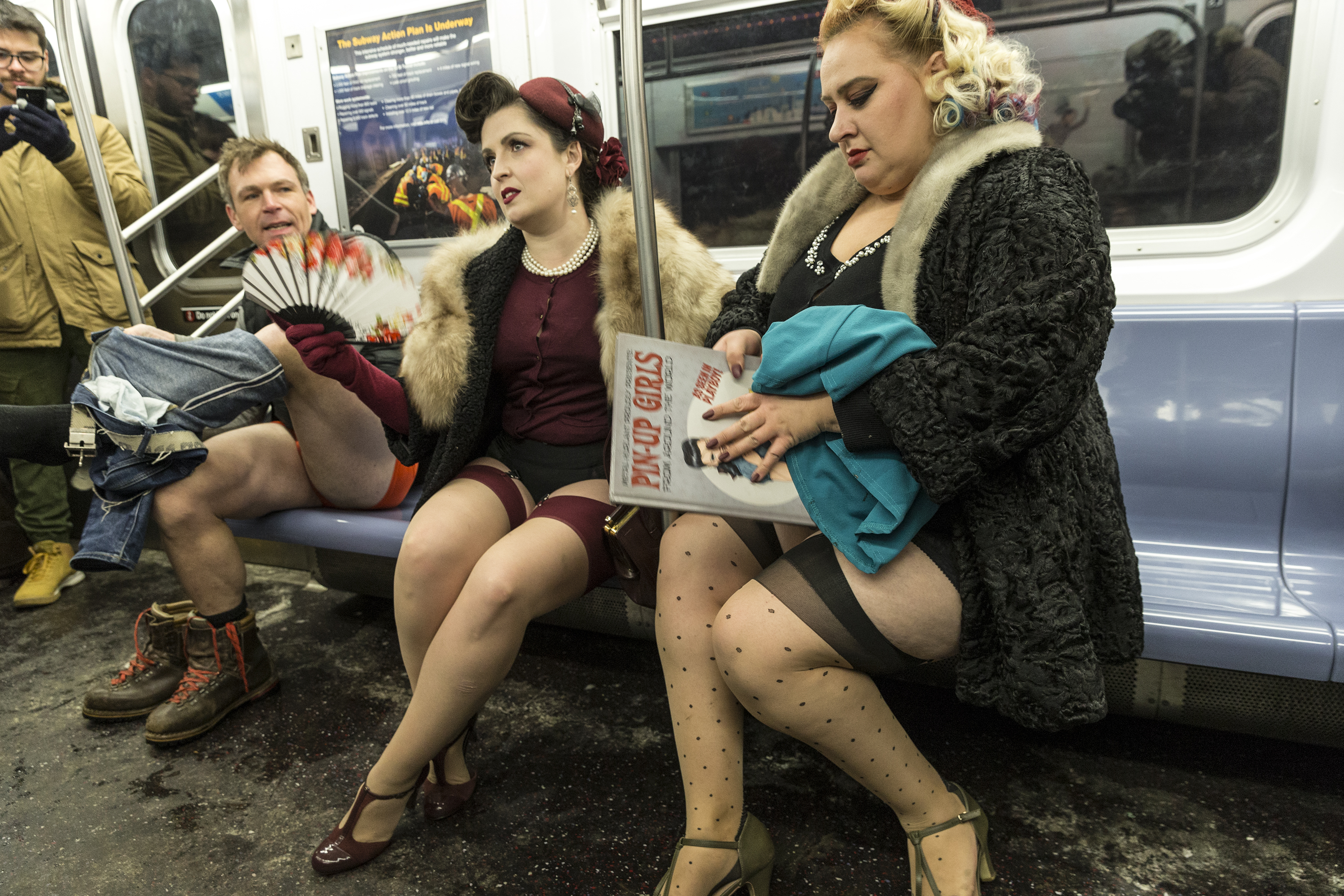 New Yorkers participate in 17th Annual No Pants Subway Ride