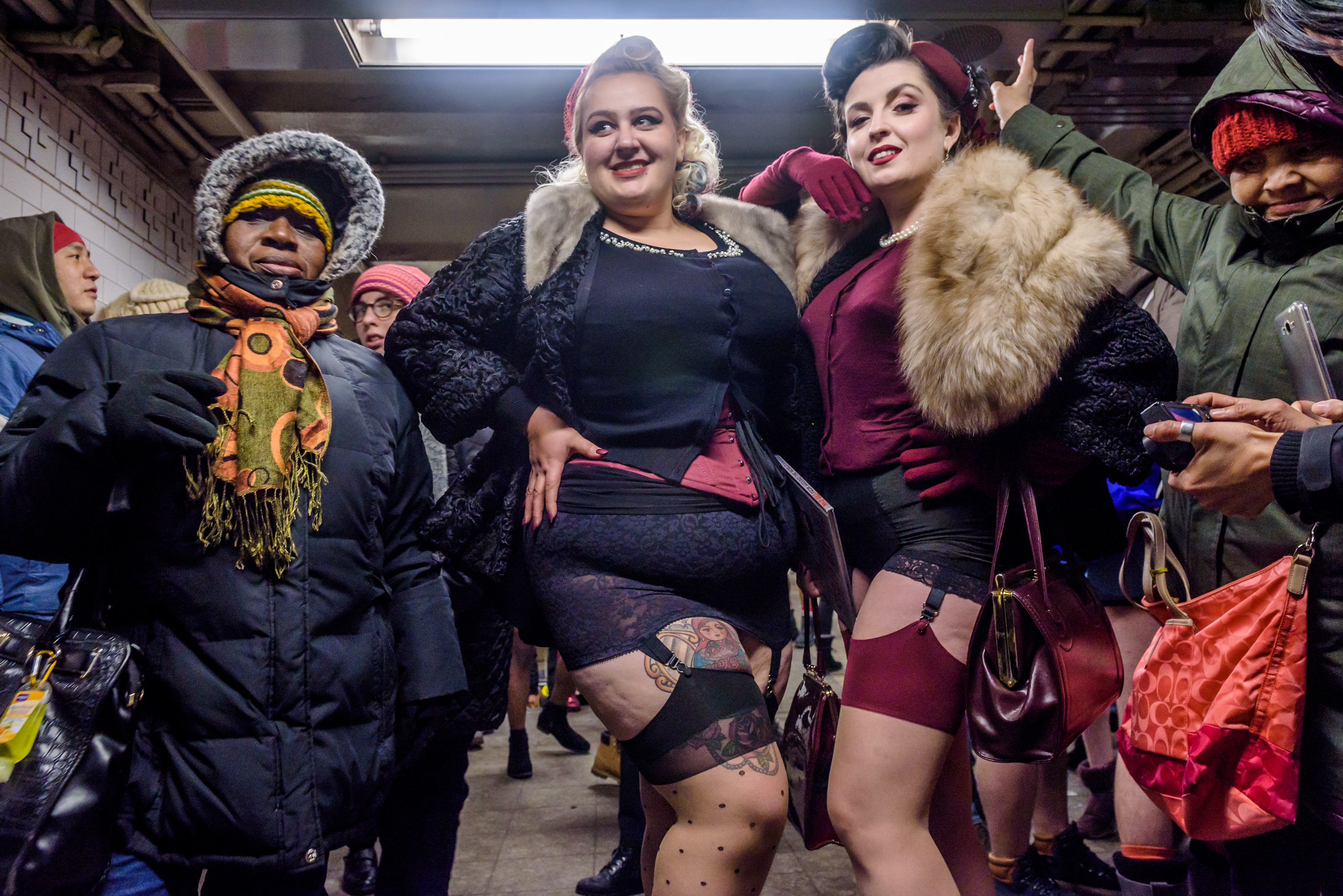 The 17th Annual No Pants Subway Ride took place; in New York