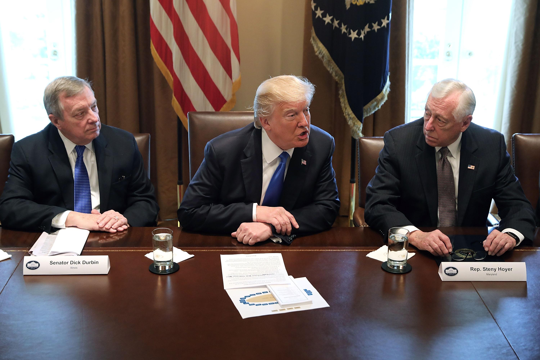 Dick Durbin, Donald Trump y Steny Hoyer