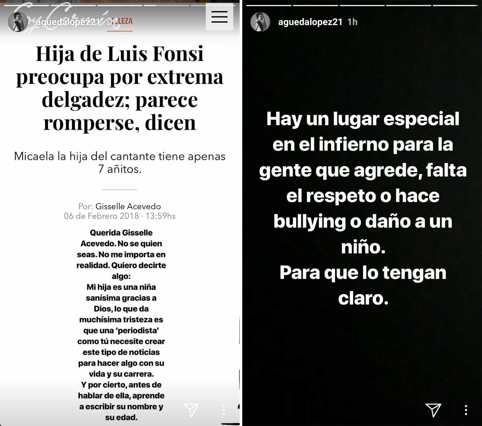 Mensajes de Águeda López en Instagram
