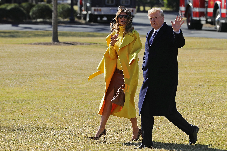 Melania Trump, look, abrigo, amarillo, ohio, casa blanca