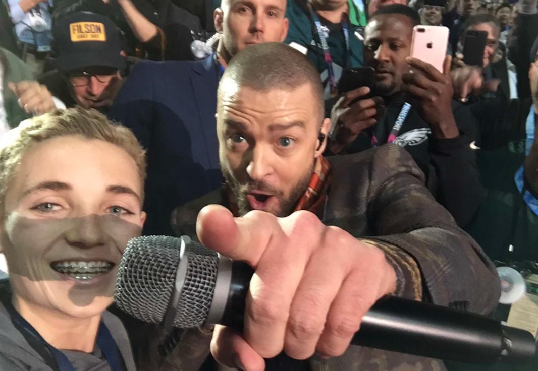 Super Bowl Selfie kid12