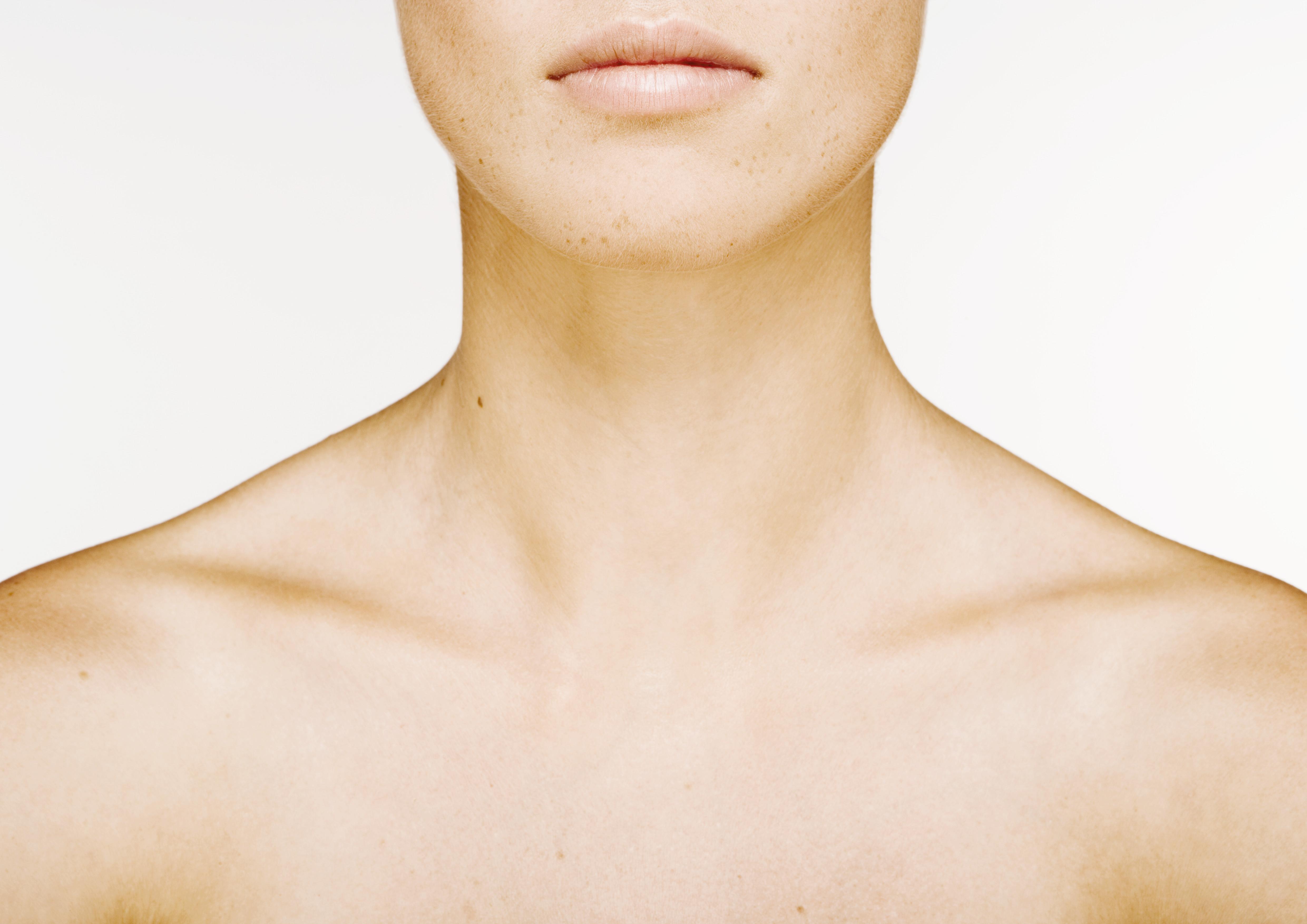 cuello, antiarruga, crema, escote
