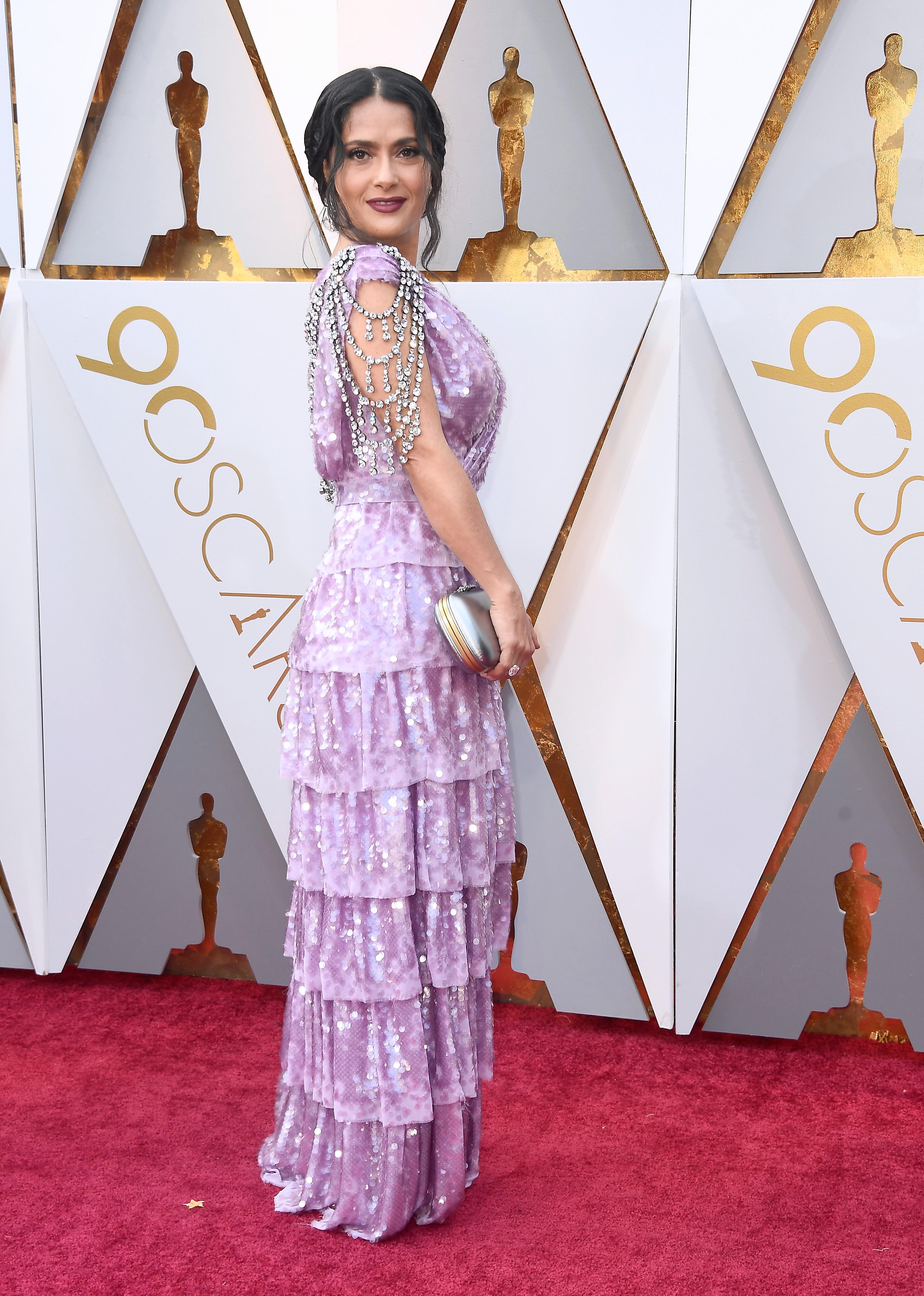 Salma Hayek, look, vestido, oscar, oscar 2018