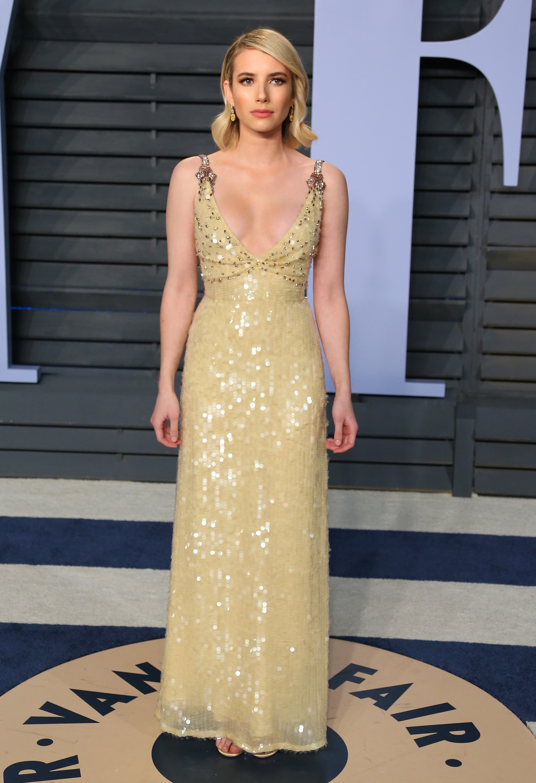 Emma Roberts, los oscar, vestido, after party, vanity fair