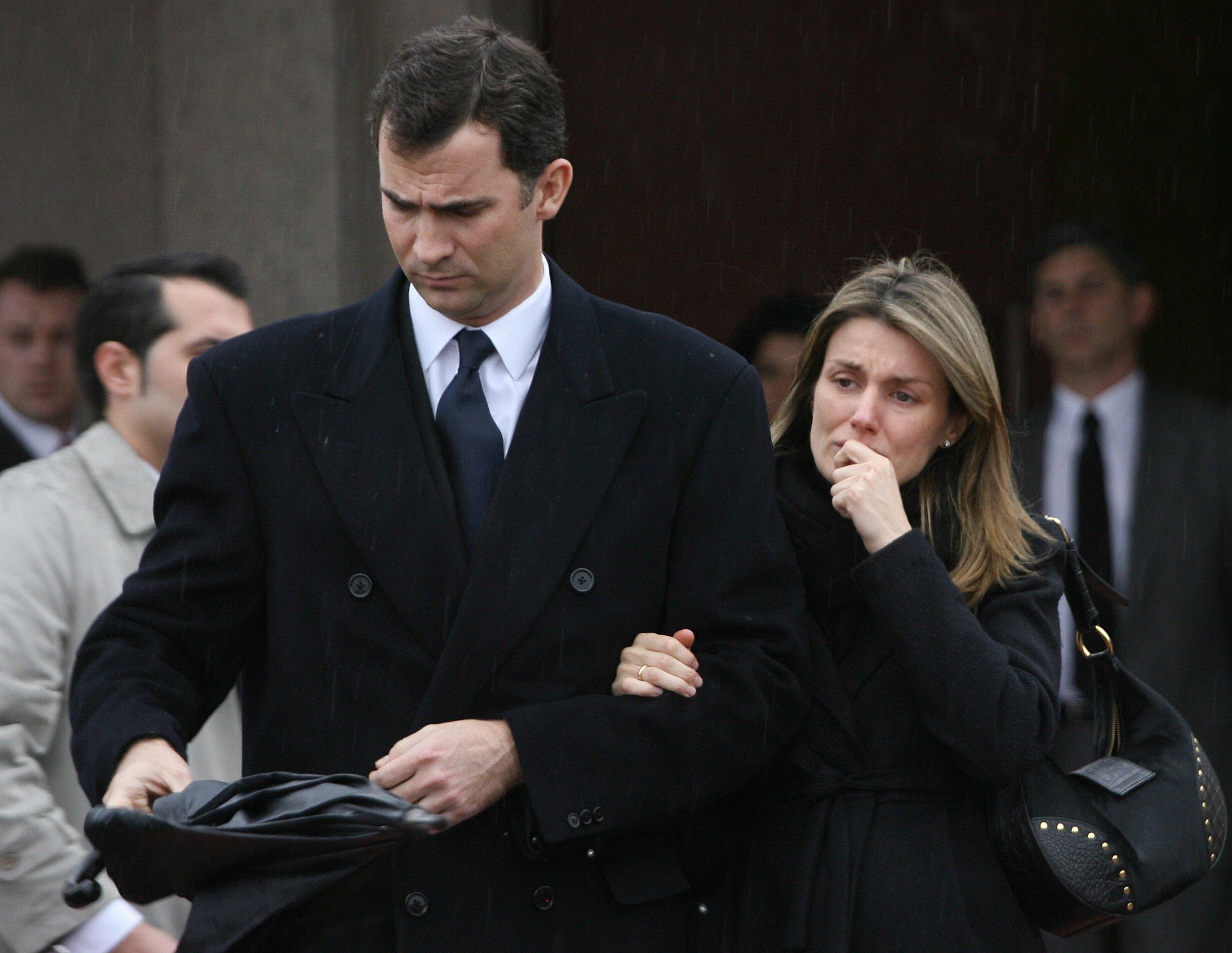 Spain's Princess Letizia (R) leaves with