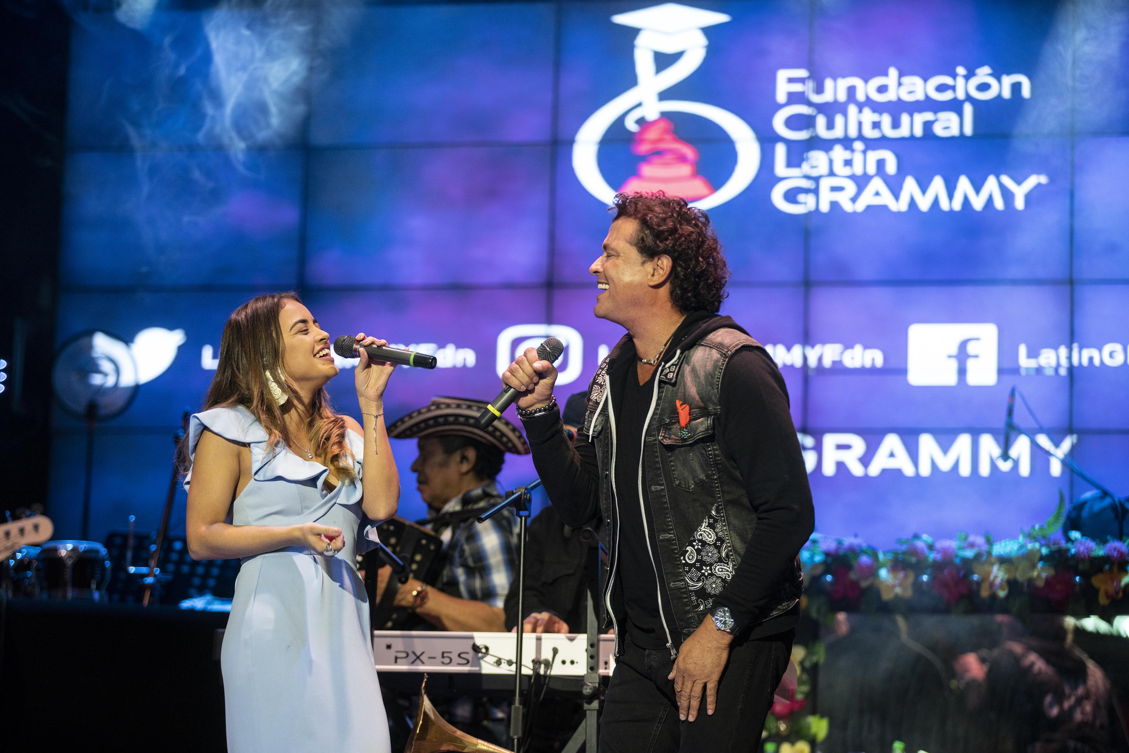 Nicolle Horbath, Scholarship Winner and Carlos Vives June 5 2018