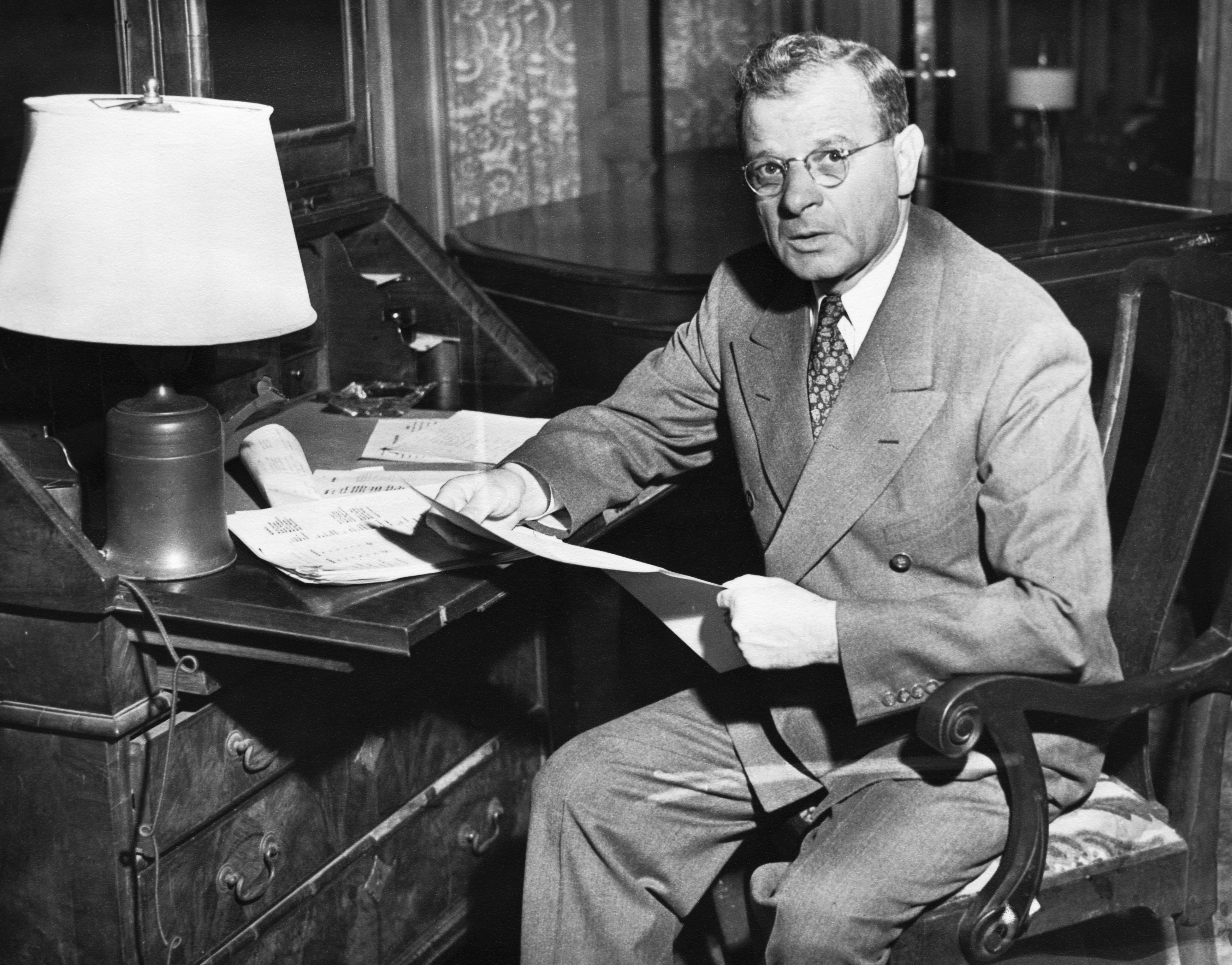 Portrait of American Labor Leader Sidney Hillman in His Office