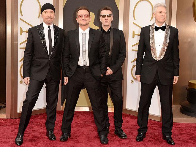 U2, ellos en la alfombra Oscar 2014