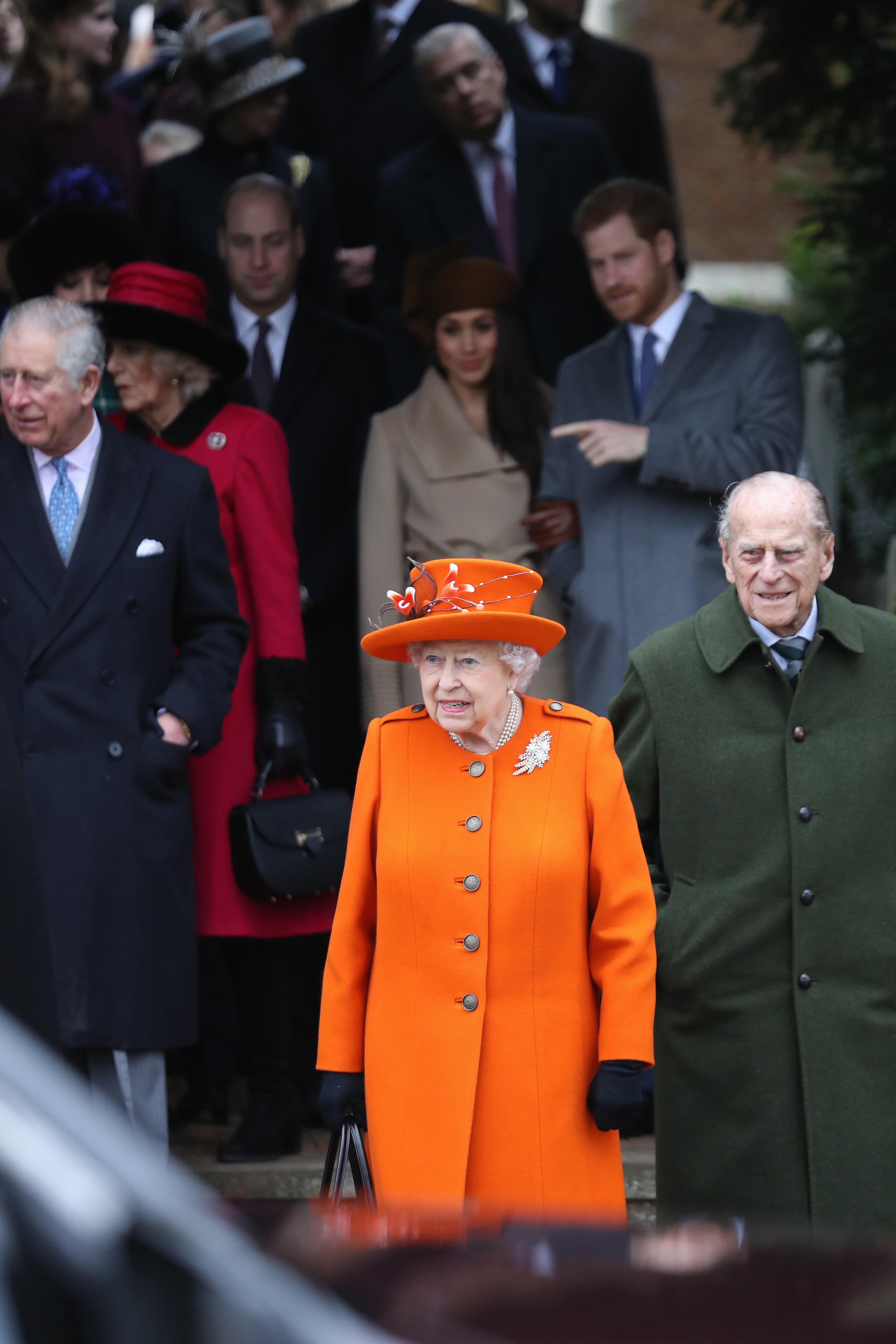 rince Charles, Prince of Wales, Camilla, Duchess of Cornwall, Queen Elizabeth II, Prince Philip, Duke of Edinburgh, Meghan Markle Prince Harry