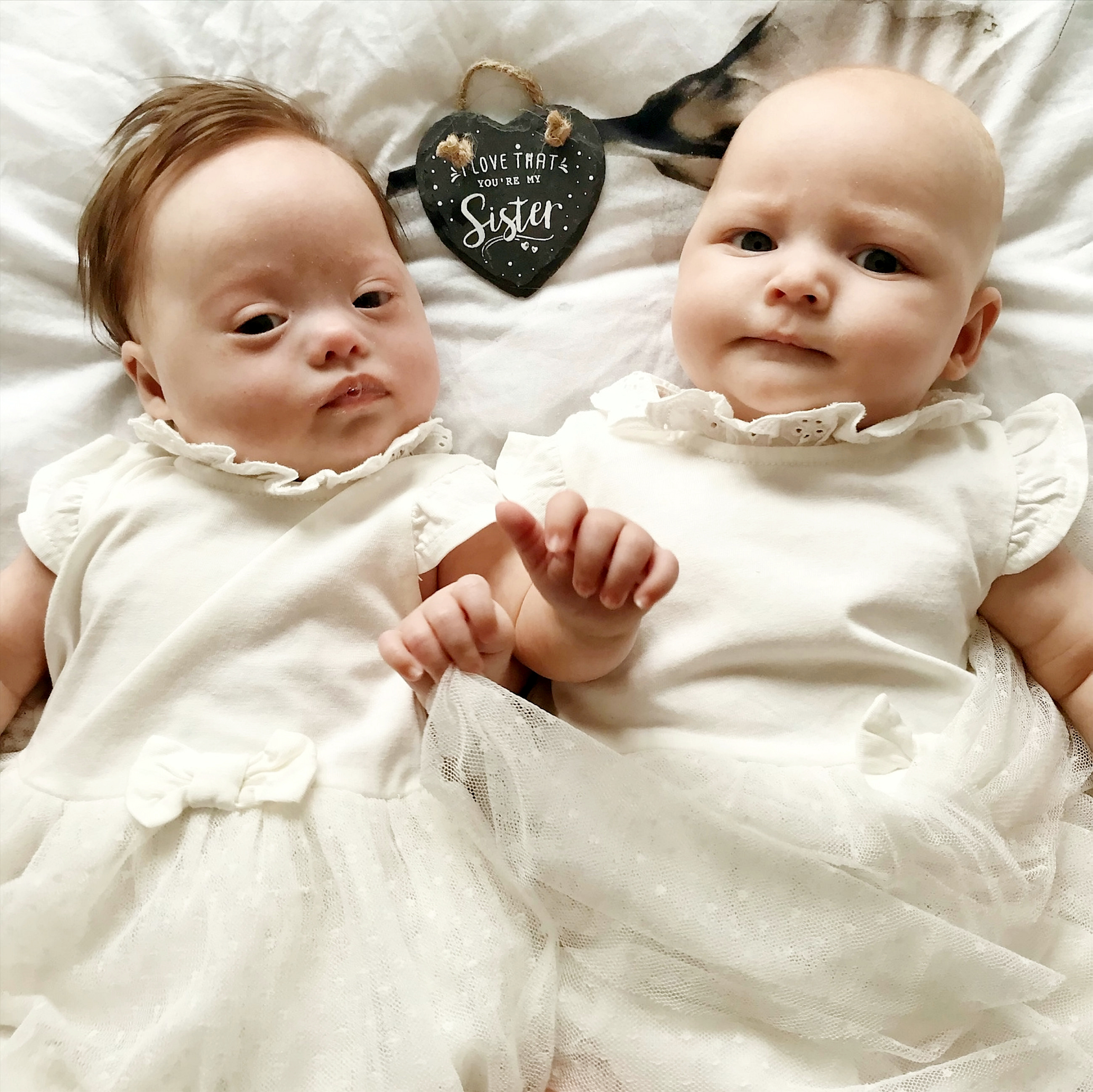 Twins Harper (left) and Quinn Bailey