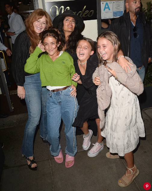 Salma Hayek with daughter Valentina (in green) and three friends