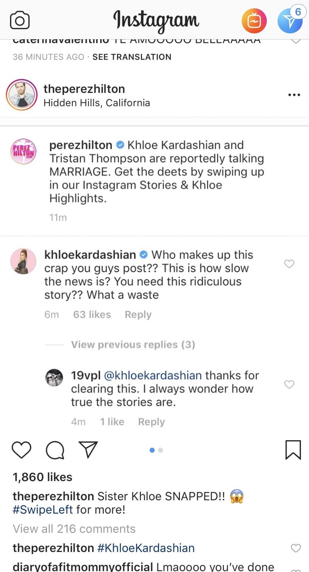 Khloé Kardashian reacciona a información sobre su presunto matrimonio.