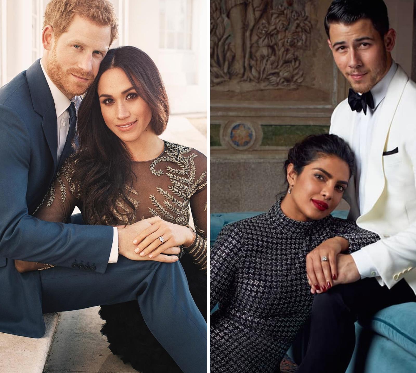 Meghan Markle y el príncipe Harry y Priyanka Chopra y Nick Jonas