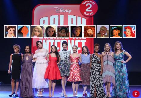 Paige O'Hara, Irene Bedard, Mandy Moore, Auli'i Cravalho, Sarah Silverman, Kristen Bell, Kelly Macdonald, Anika Noni Rose, Linda Larkin, and Jodi Benson at Disney's D23 Expo