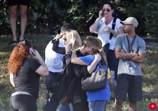 Students and parents after the Stoneman Douglas shooting