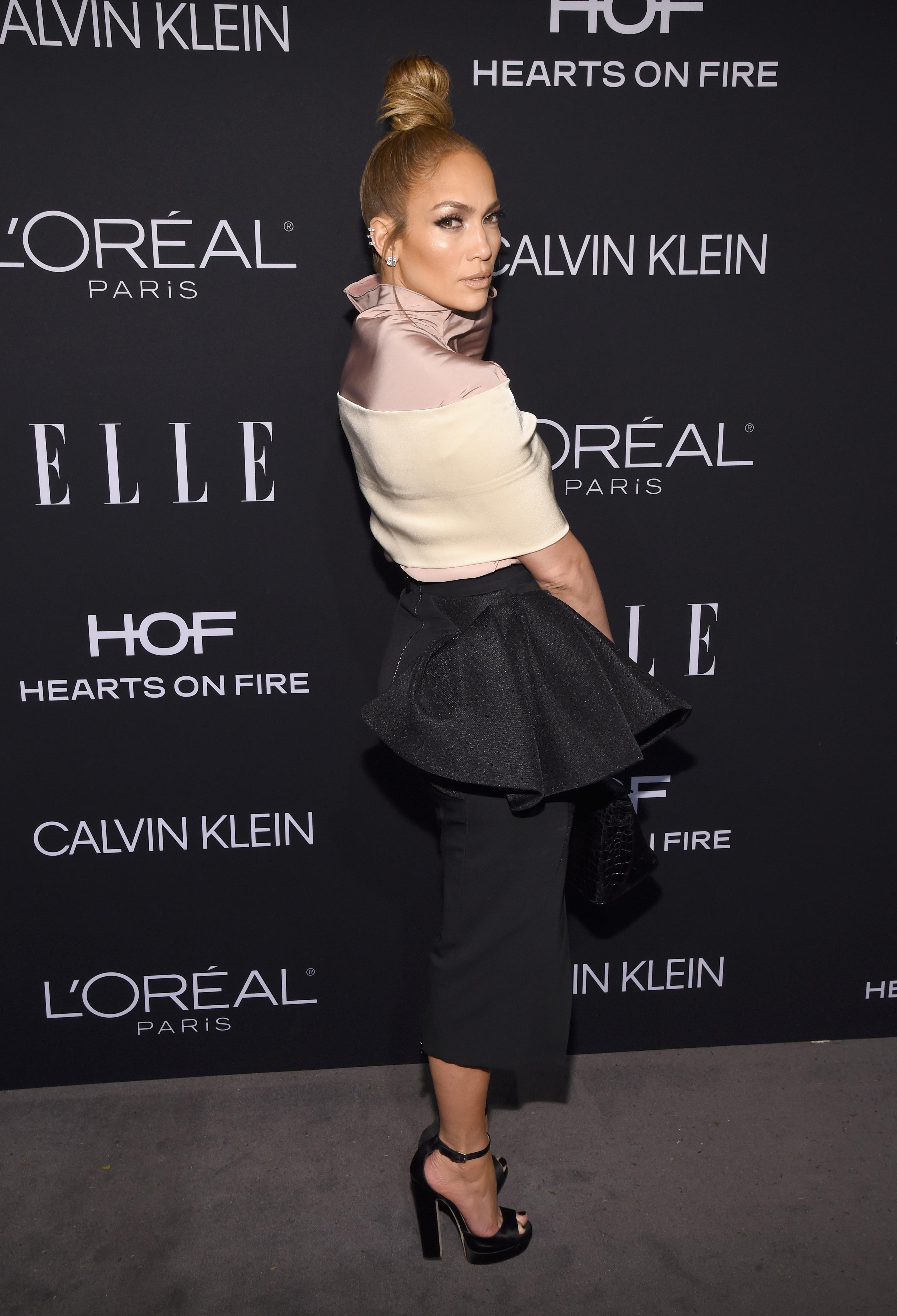 JLo, Jennifer López, peinado, Elle Awards