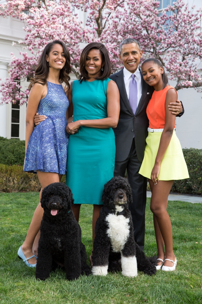 Barack Obama, Michelle Obama, y sus hijas Malia y Sasha